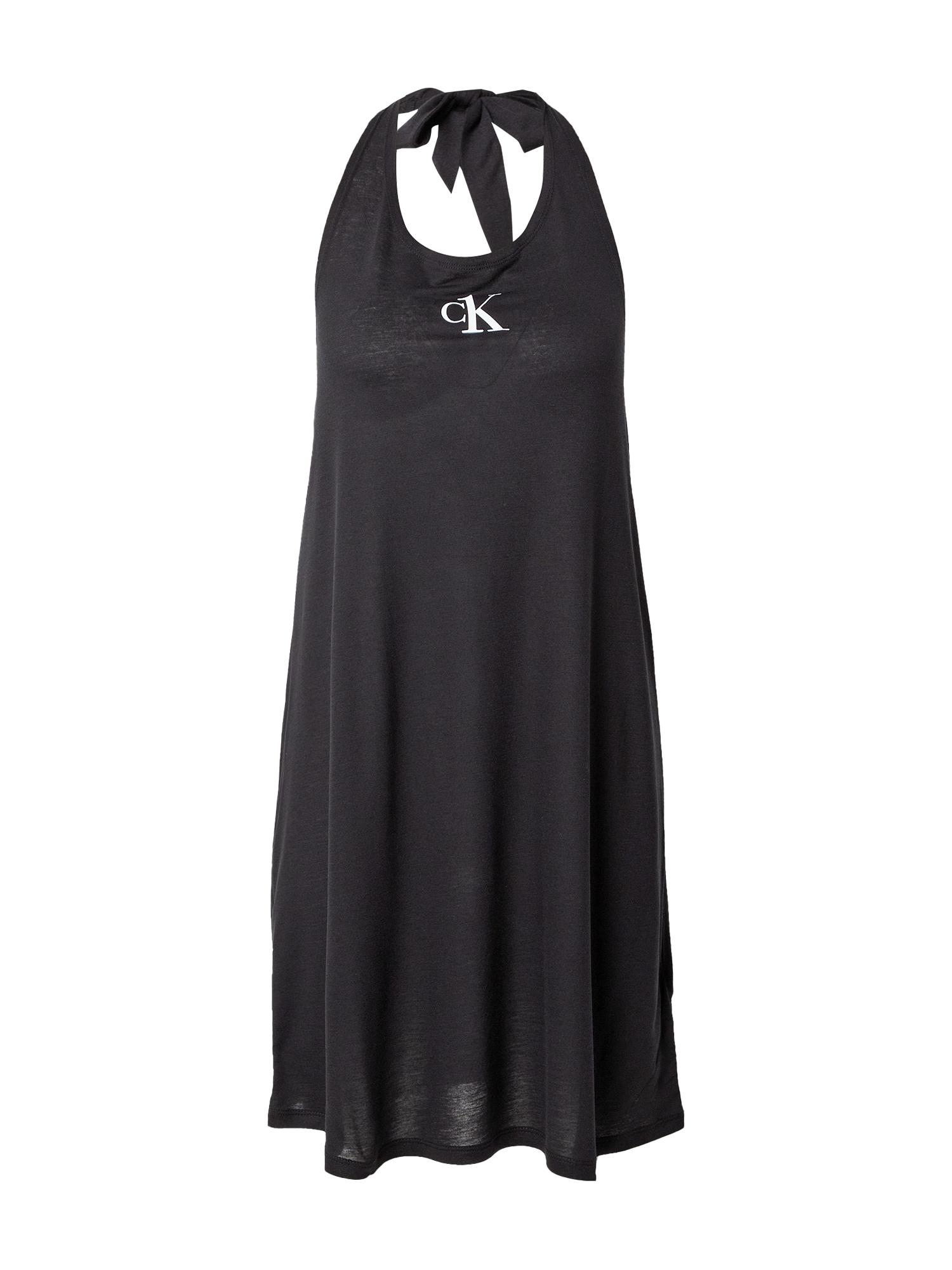 Calvin Klein Swimwear Paplūdimio suknelė juoda / balta