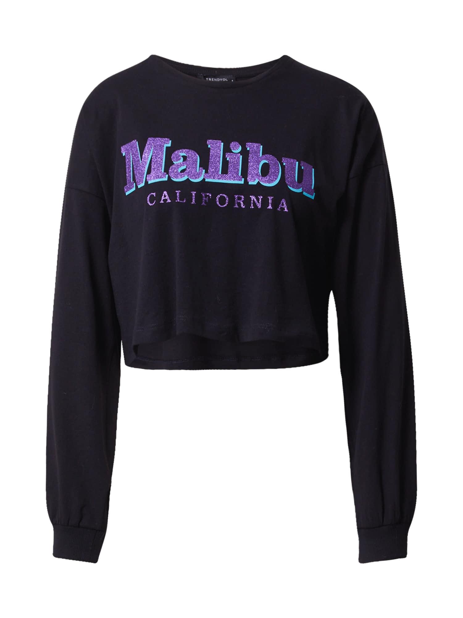 Trendyol Marškinėliai juoda / purpurinė