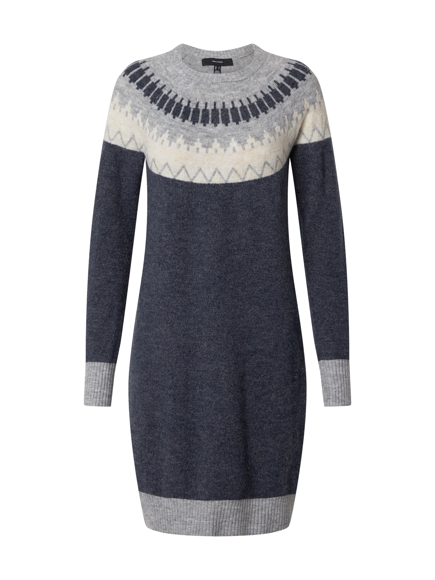 VERO MODA Úpletové šaty  marine modrá / šedá / krémová