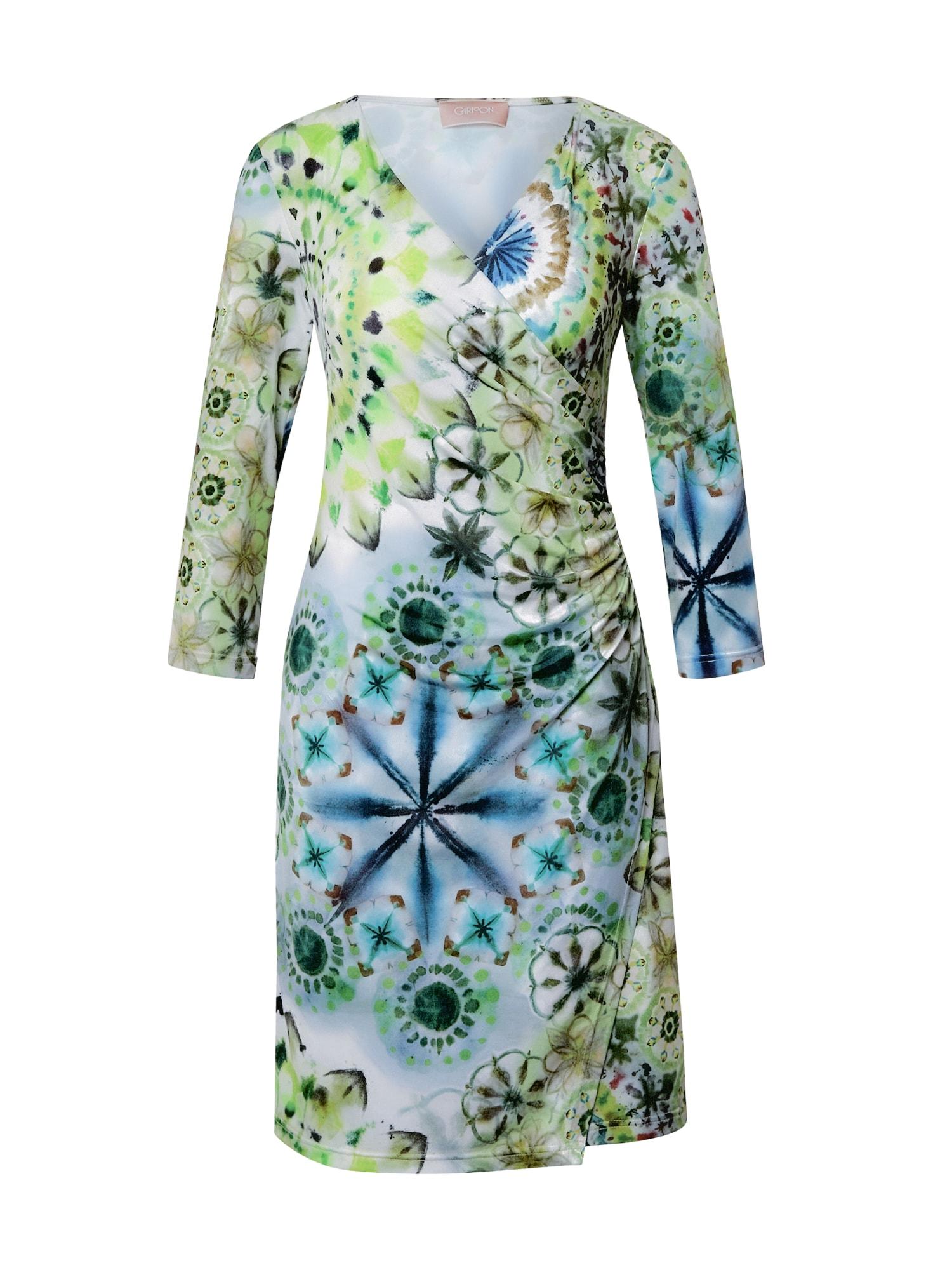 Cartoon Suknelė šviesiai žalia / balta / margai mėlyna / neoninė žalia