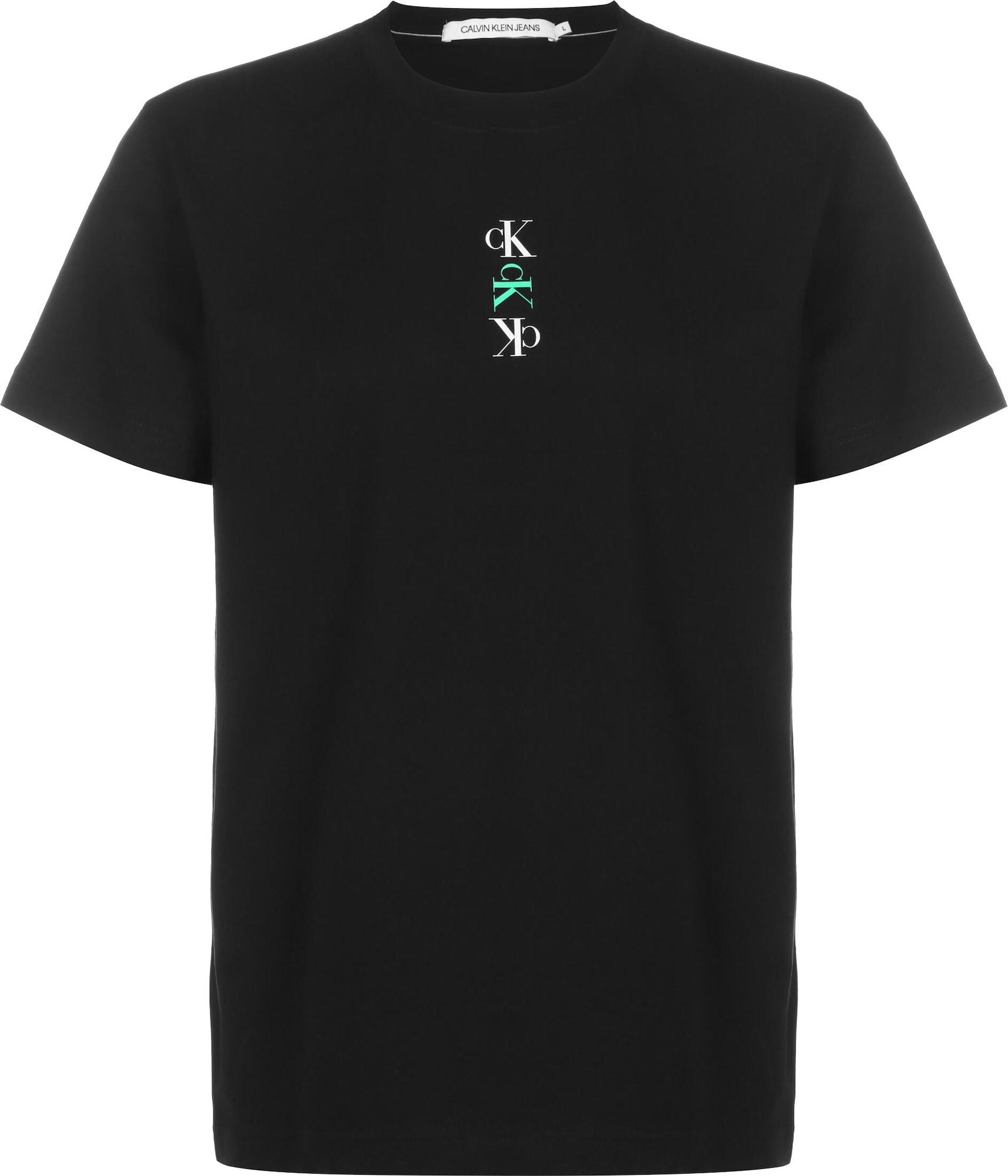 Calvin Klein Jeans Marškinėliai juoda / mėtų spalva / balta