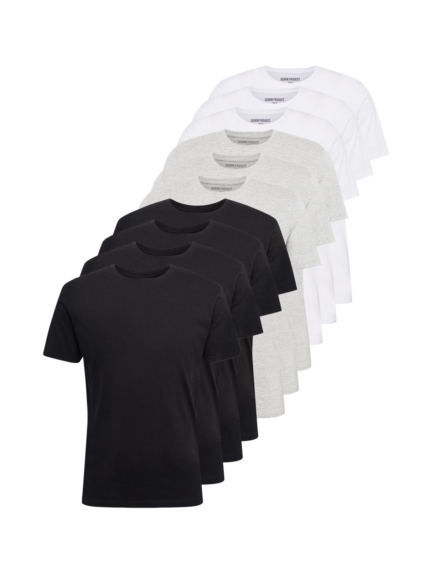 Denim Project Marškinėliai juoda / šviesiai pilka / balta