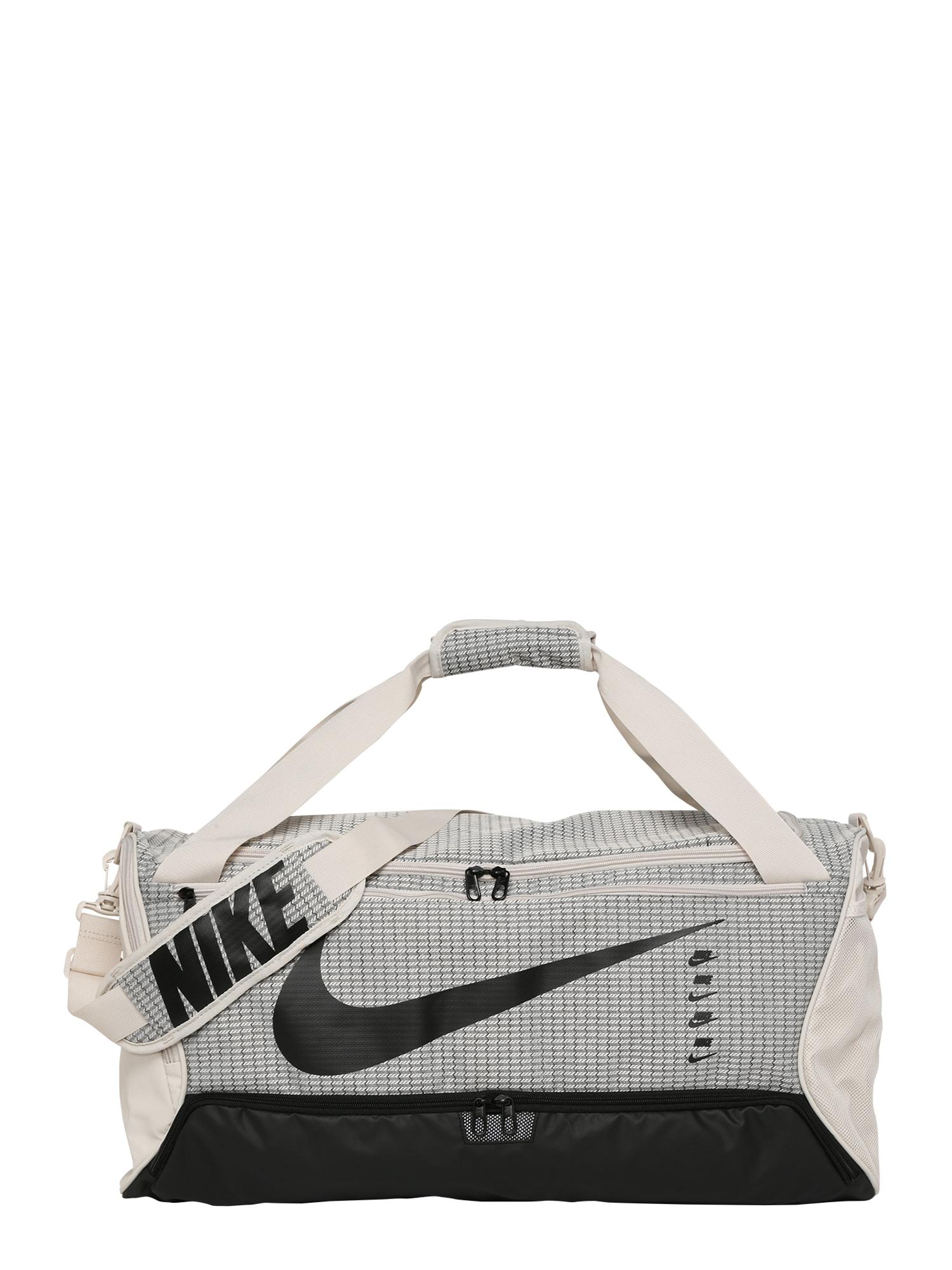 NIKE Sportovní taška 'Brasilia 9.0'  černá / barva bílé vlny / šedá