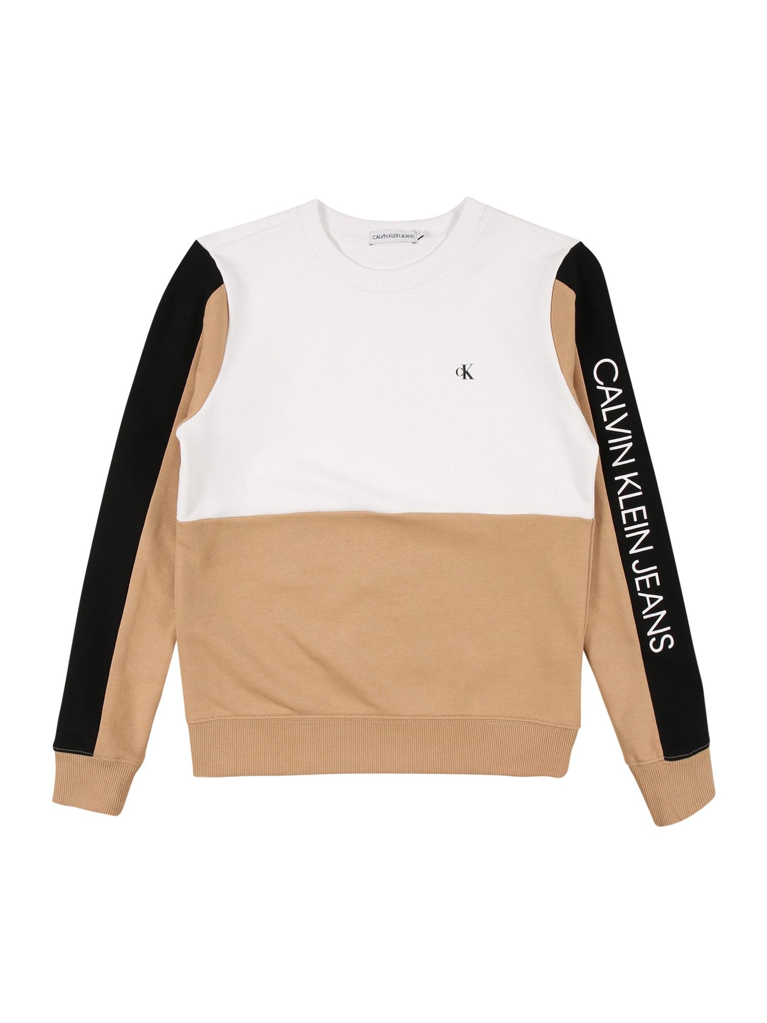 Calvin Klein Jeans Megztinis be užsegimo balta / smėlio / juoda