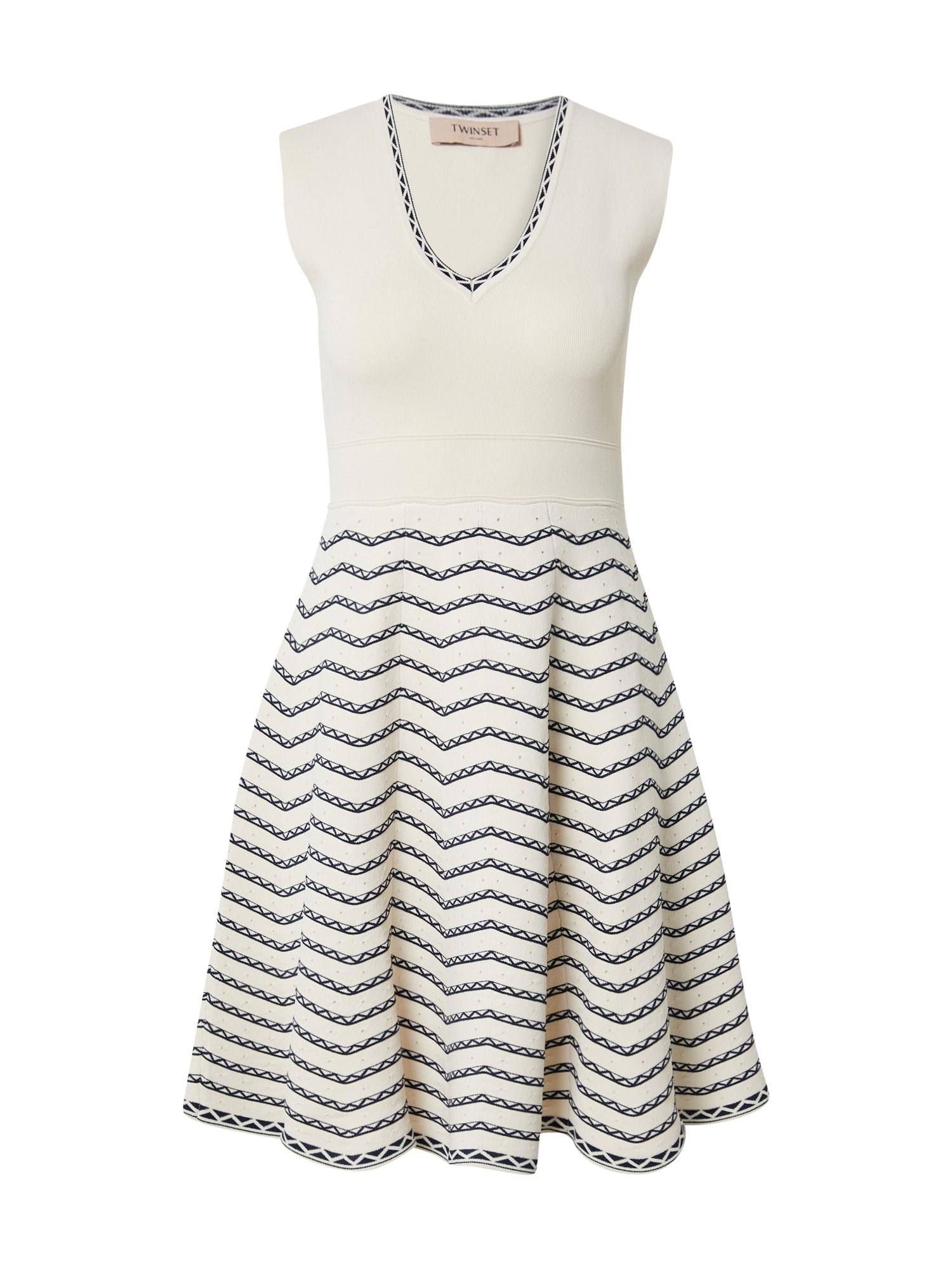 Twinset Megzta suknelė balta / tamsiai mėlyna
