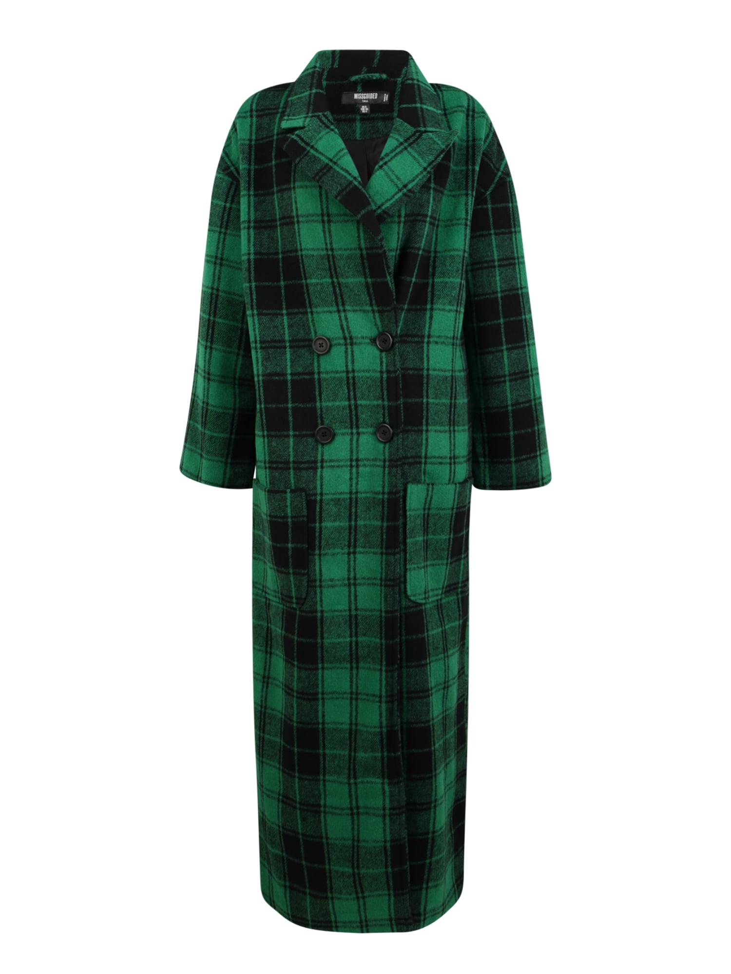 Missguided Tall Demisezoninis paltas žalia / tamsiai žalia