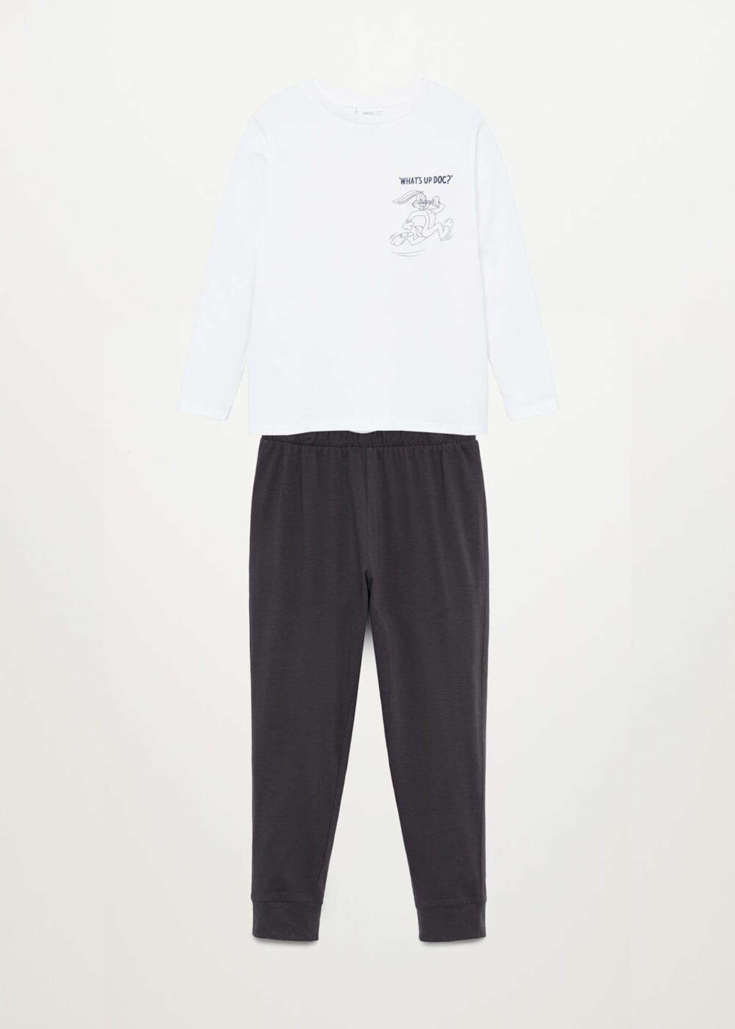 MANGO KIDS Pyžamo 'Bugs'  antracitová / bílá