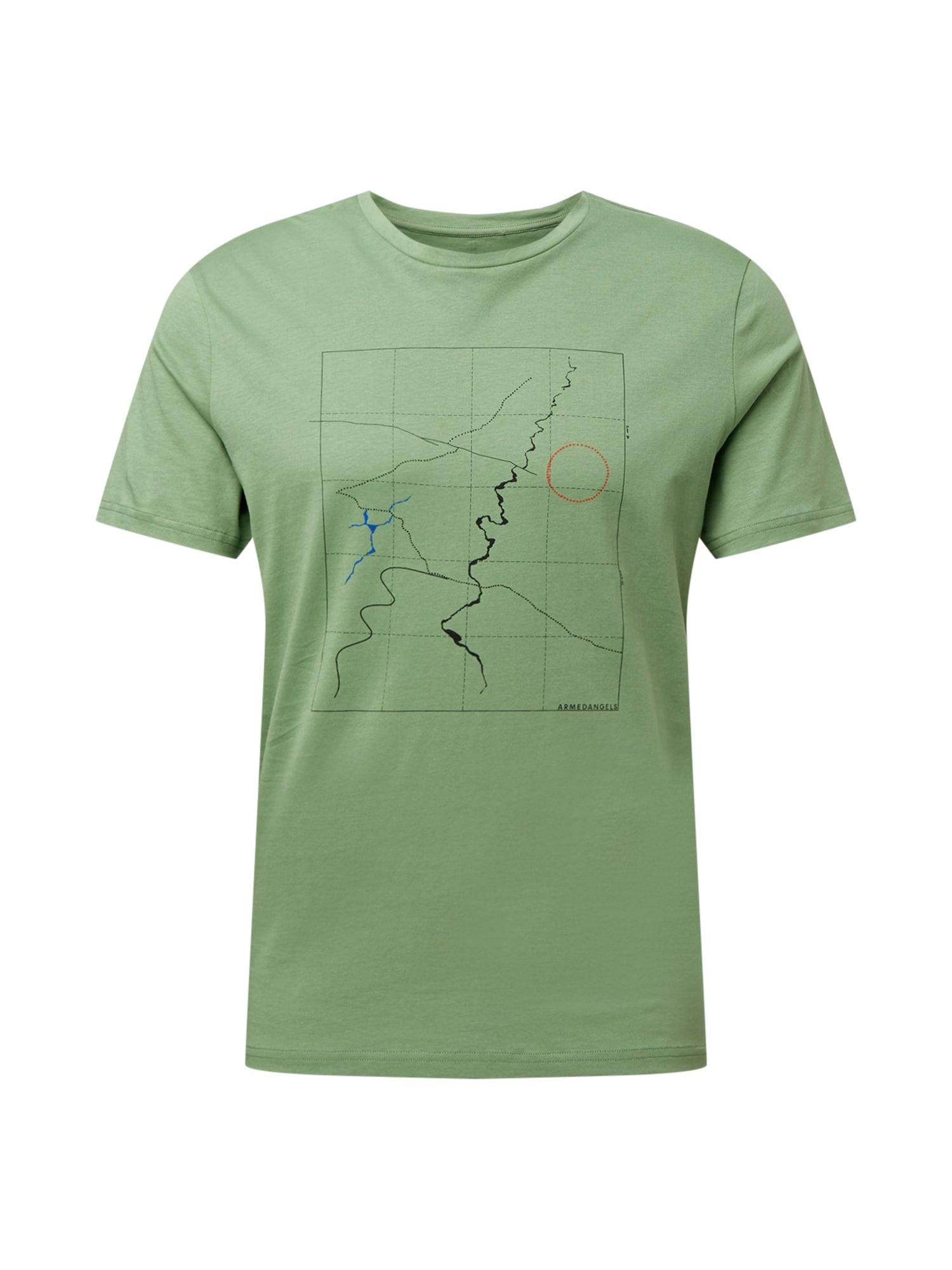 ARMEDANGELS Marškinėliai 'JAAMES SCALE UP' šviesiai žalia / juoda / mėlyna / raudona