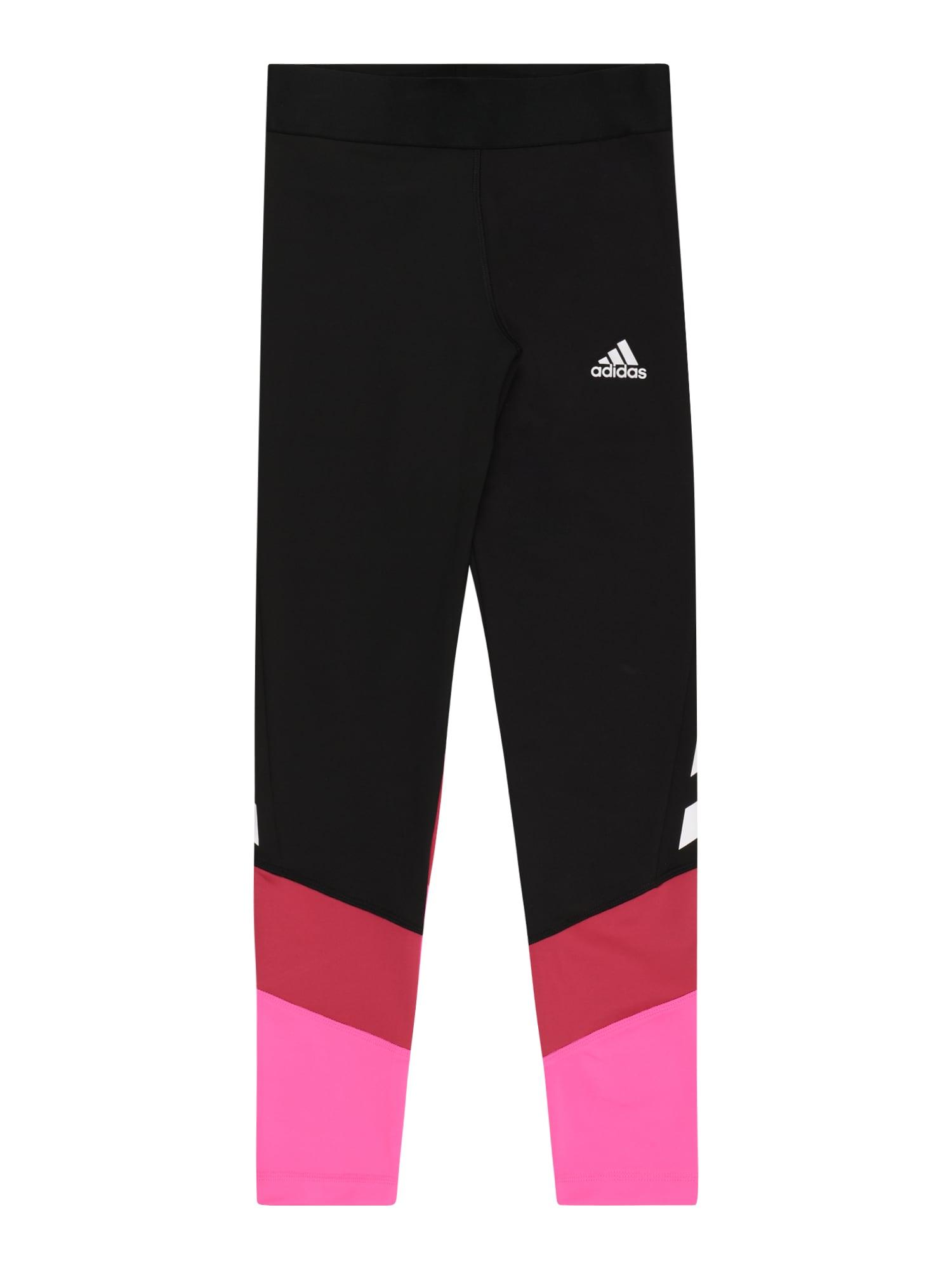 ADIDAS PERFORMANCE Sportinės kelnės juoda / granatų spalva / neoninė rožinė / balta
