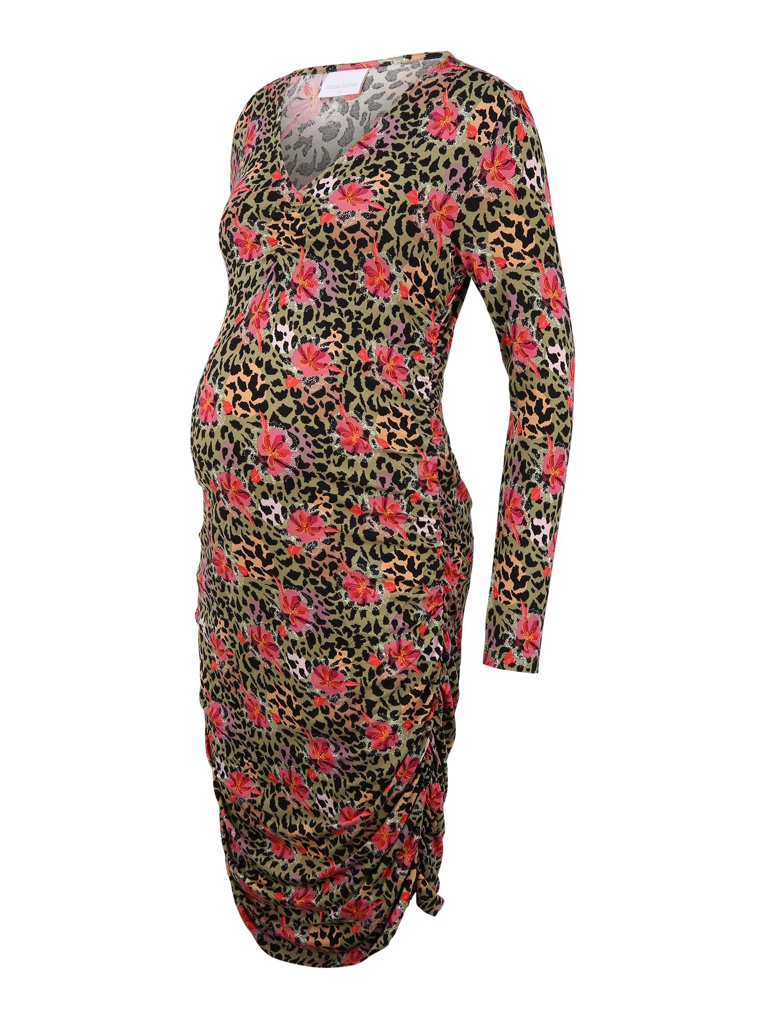 MAMALICIOUS Suknelė 'CHARO' obuolių spalva / mišrios spalvos / raudona / juoda