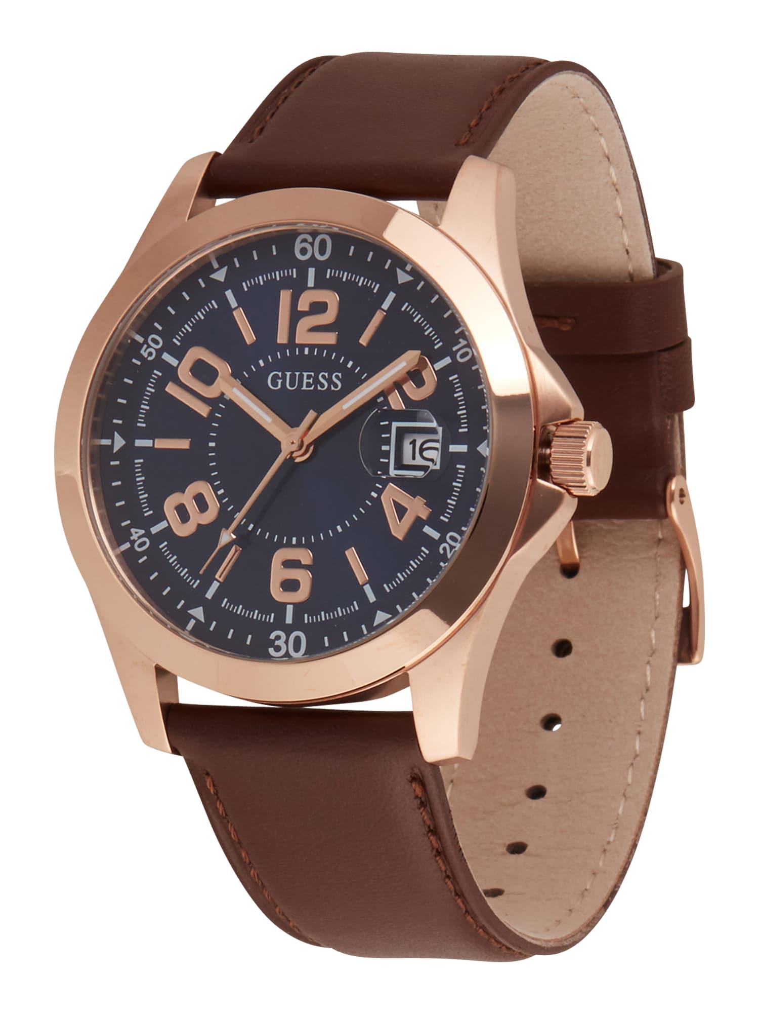 GUESS Analoginis (įprasto dizaino) laikrodis ruda / mėlyna