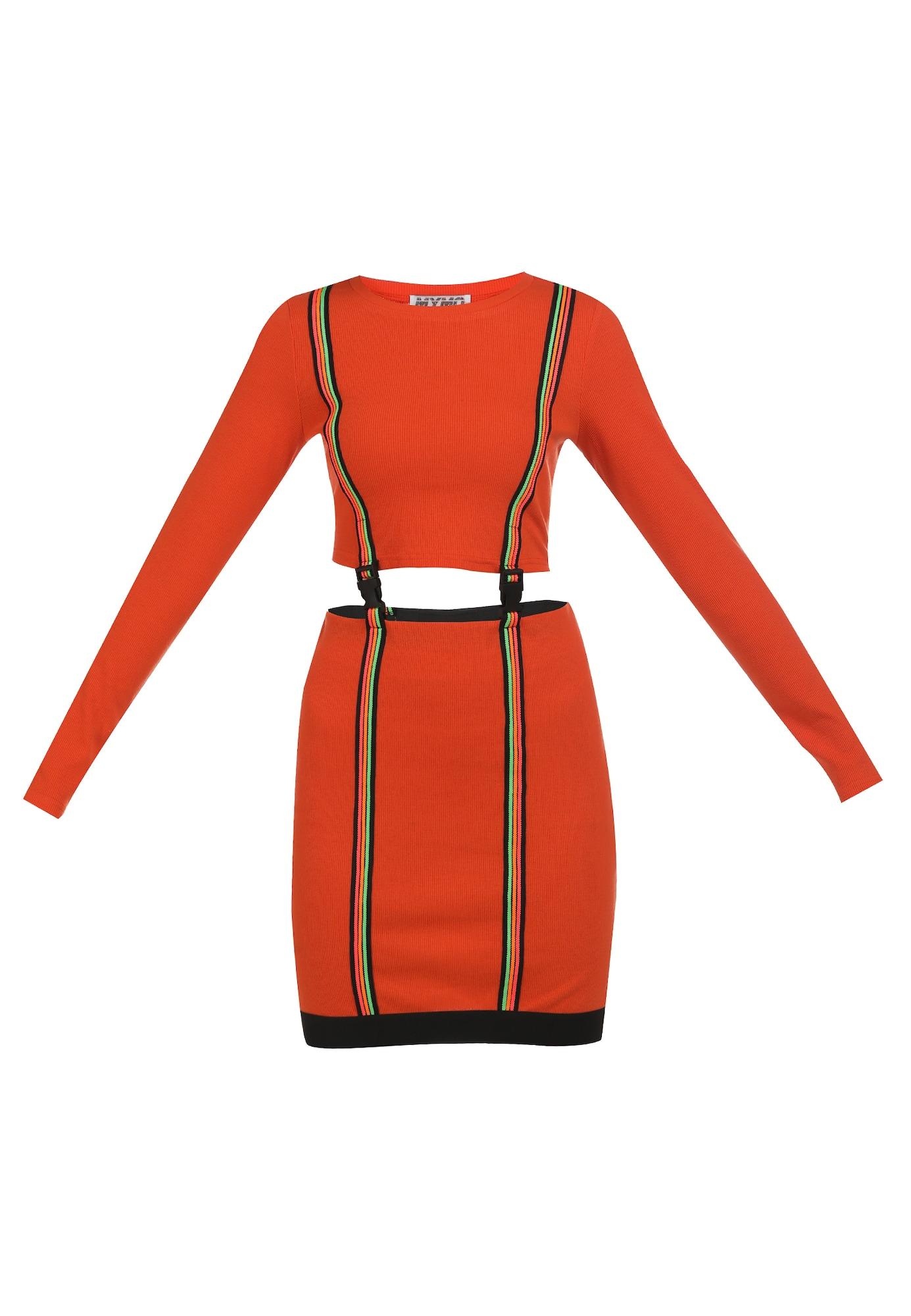 myMo ATHLSR Sportinė suknelė juoda / neoninė oranžinė / kivių spalva