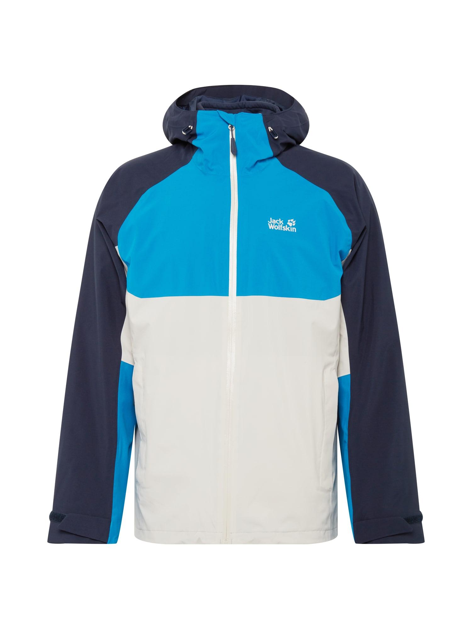 JACK WOLFSKIN Sportinė striukė 'MOUNT ISA' tamsiai mėlyna / vandens spalva / balta