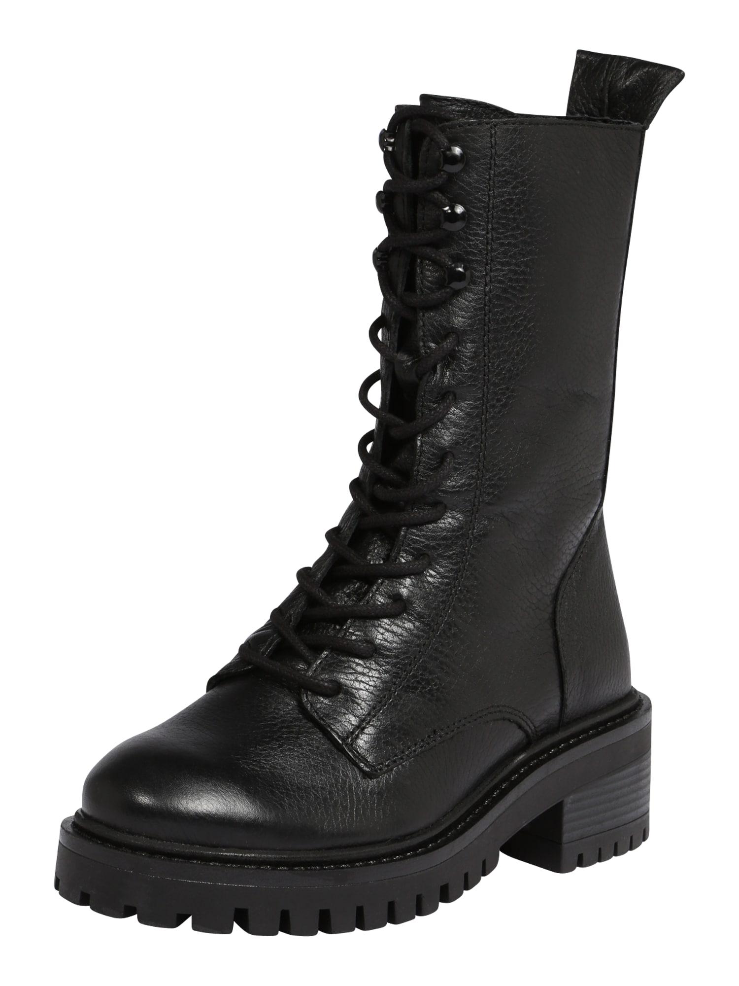 PS Poelman Šněrovací boty  černá