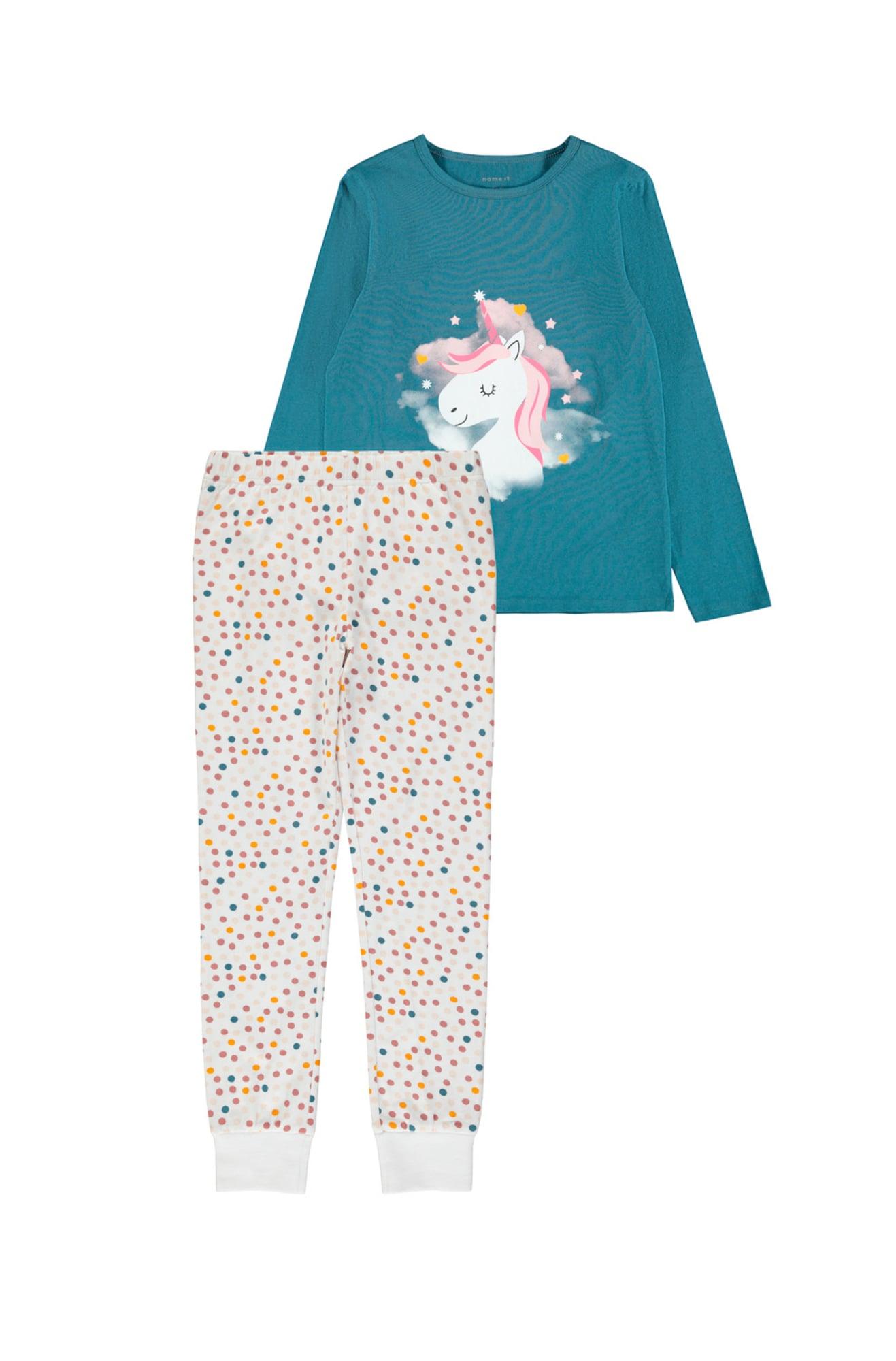 NAME IT Miego kostiumas 'UNICORN' mėlyna dūmų spalva / šampano / rožių spalva / geltona / vilnos balta