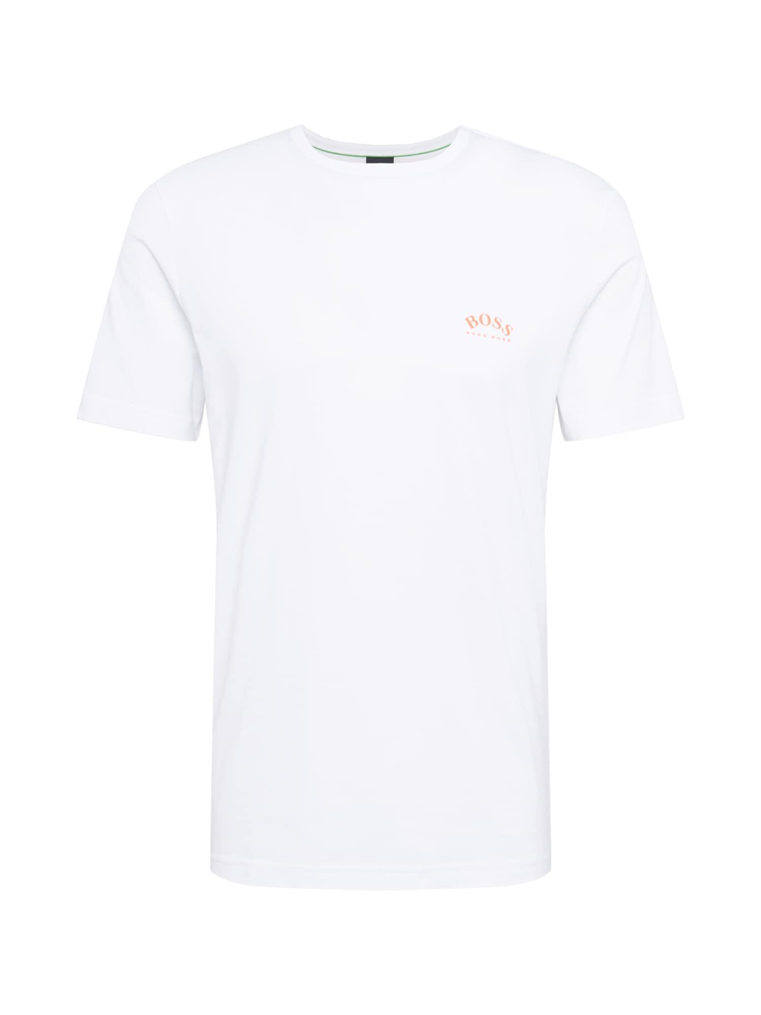 BOSS ATHLEISURE Marškinėliai balta / pastelinė oranžinė