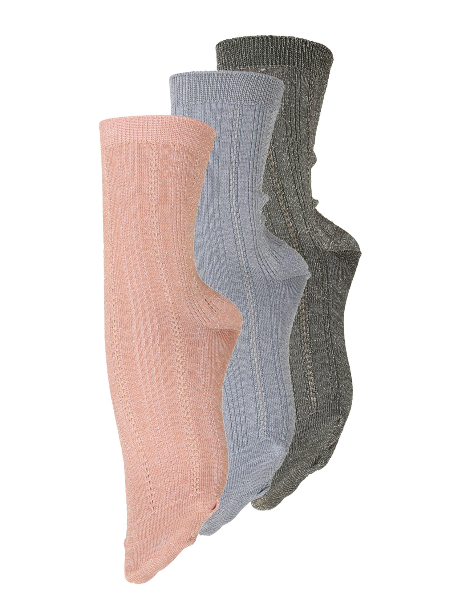 BeckSöndergaard Kojinės ryškiai rožinė spalva / šviesiai mėlyna / tamsiai pilka