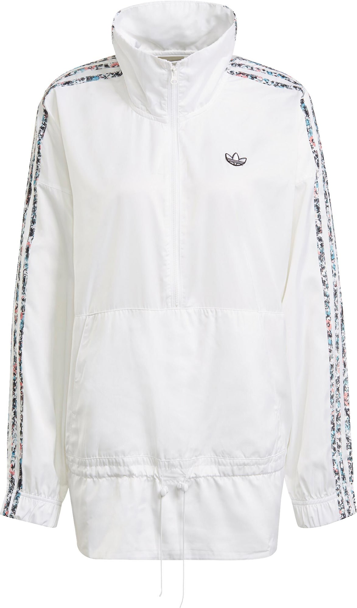 ADIDAS ORIGINALS Demisezoninė striukė balta / juoda / šviesiai mėlyna / ryškiai rožinė spalva