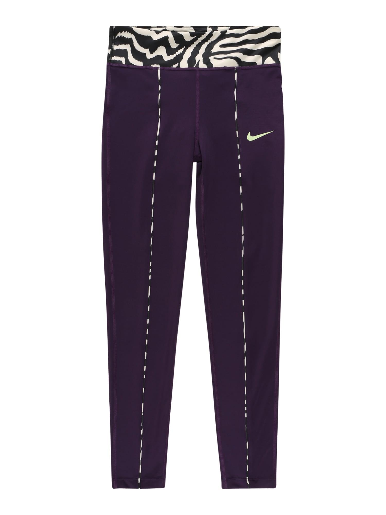 NIKE Sportinės kelnės 'One' tamsiai violetinė / balta / juoda / pastelinė žalia