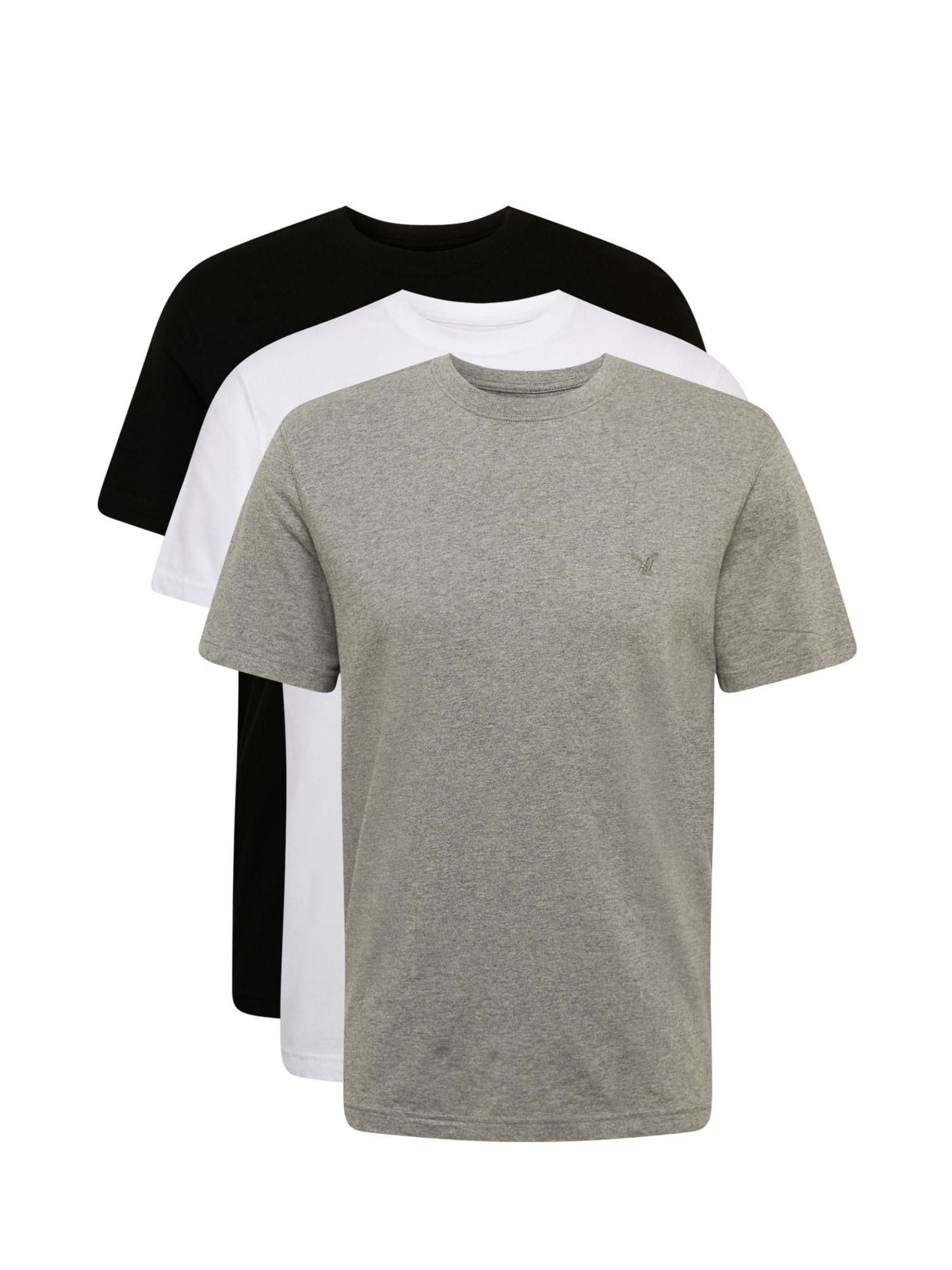 American Eagle Tričko  černá / bílá / šedá