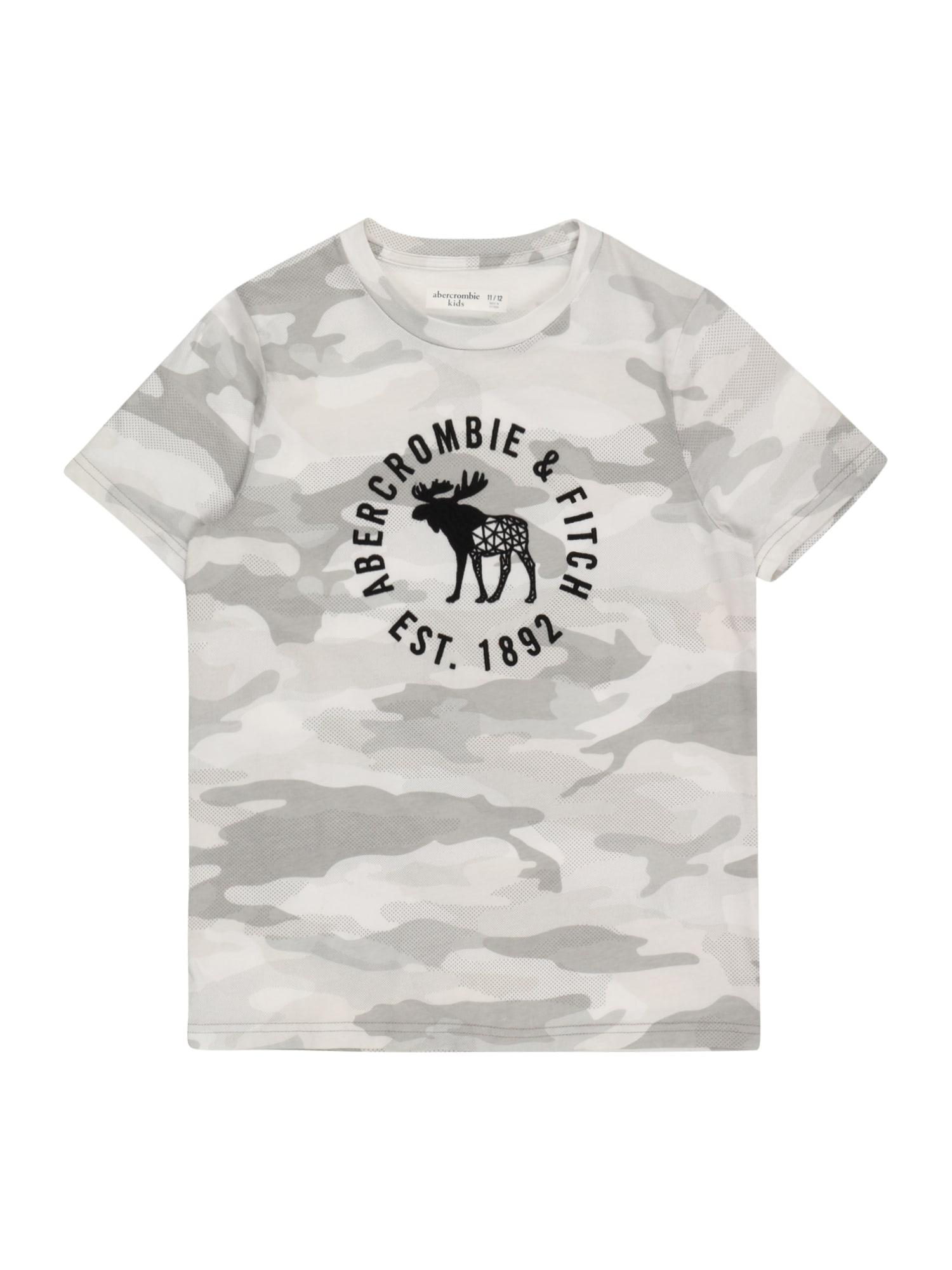 Abercrombie & Fitch Marškinėliai pilka / šviesiai pilka / juoda / balta
