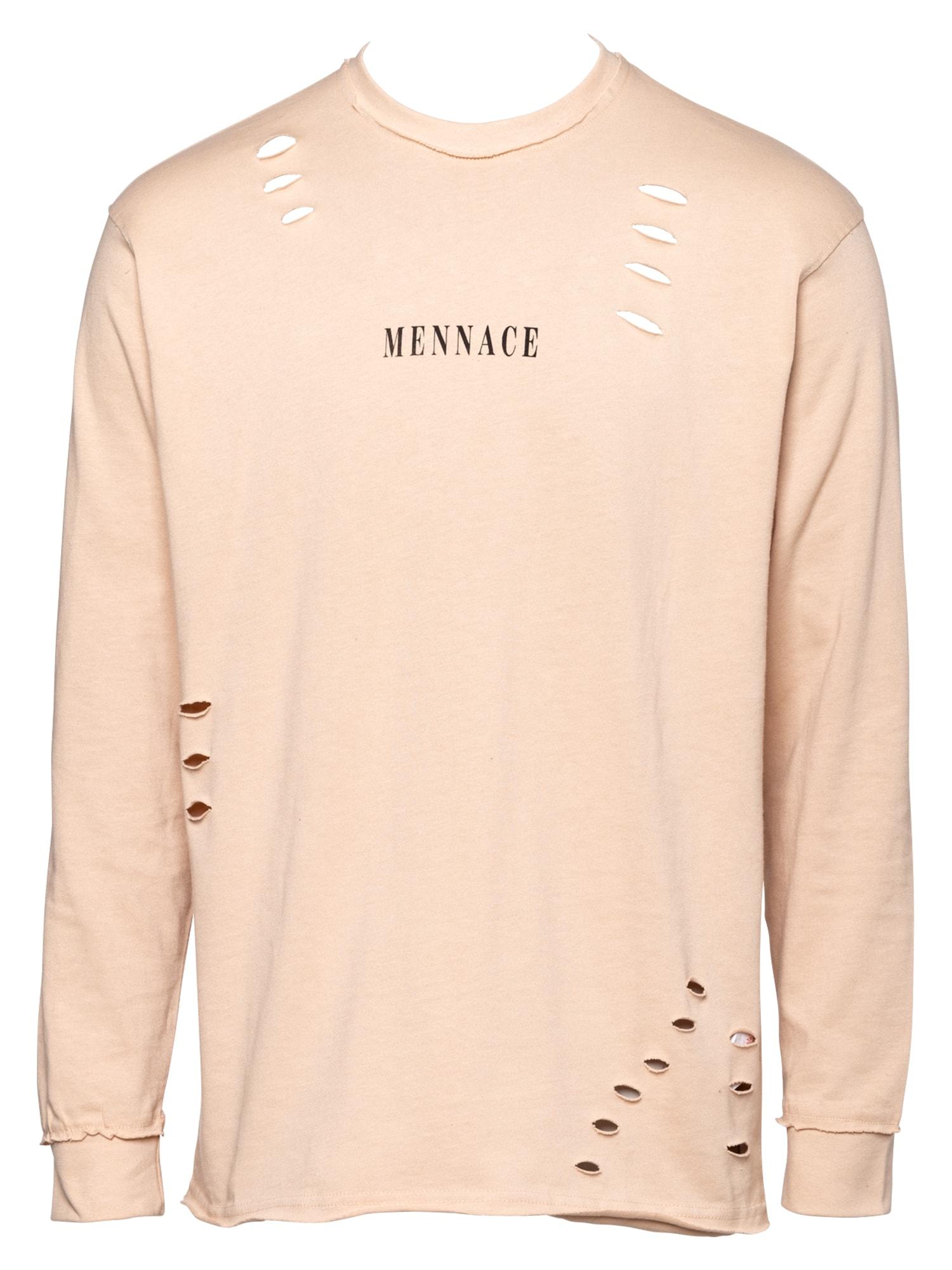 Mennace Marškinėliai šampano / juoda