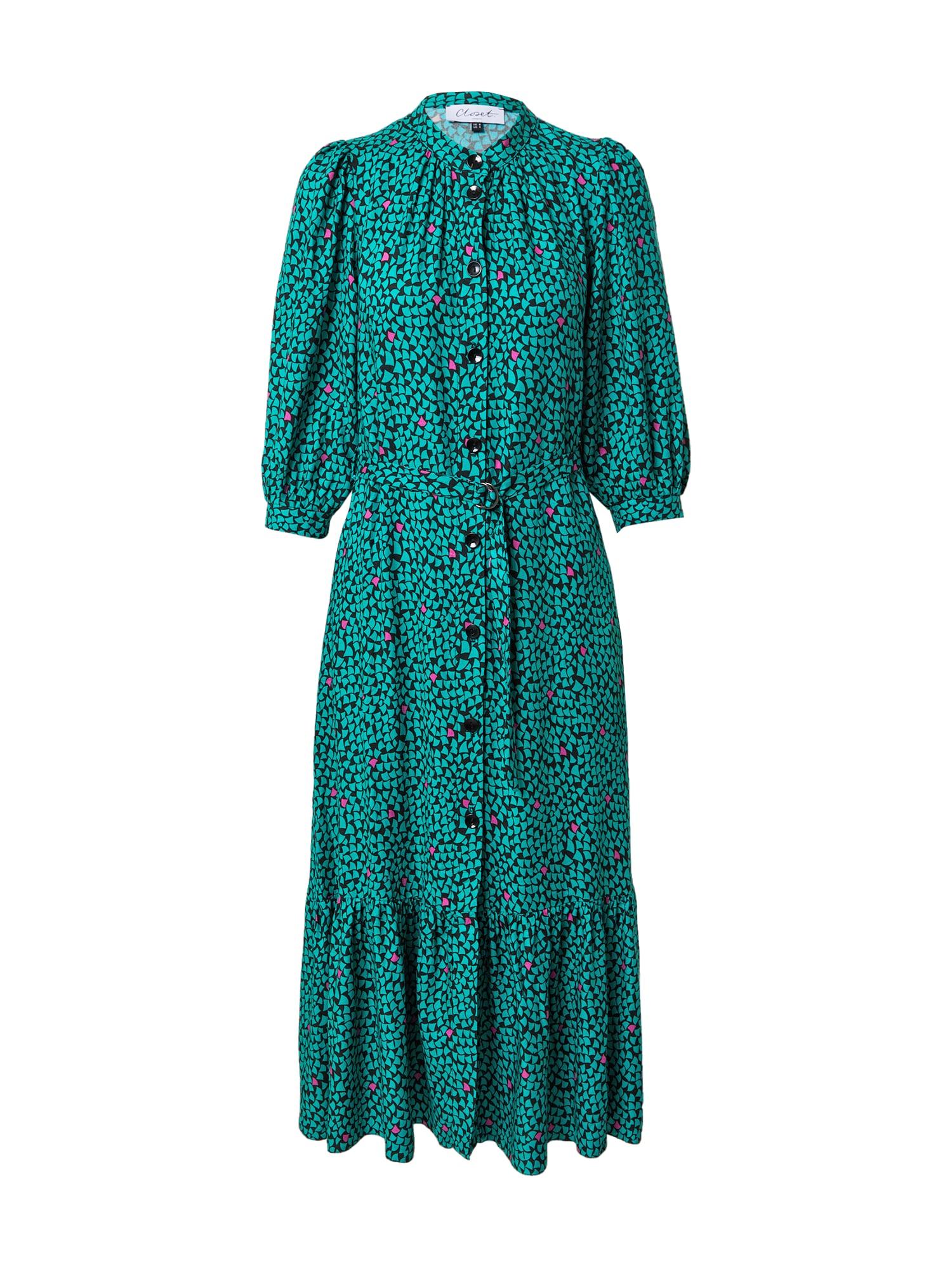 Closet London Palaidinės tipo suknelė juoda / nefrito spalva / rožinė