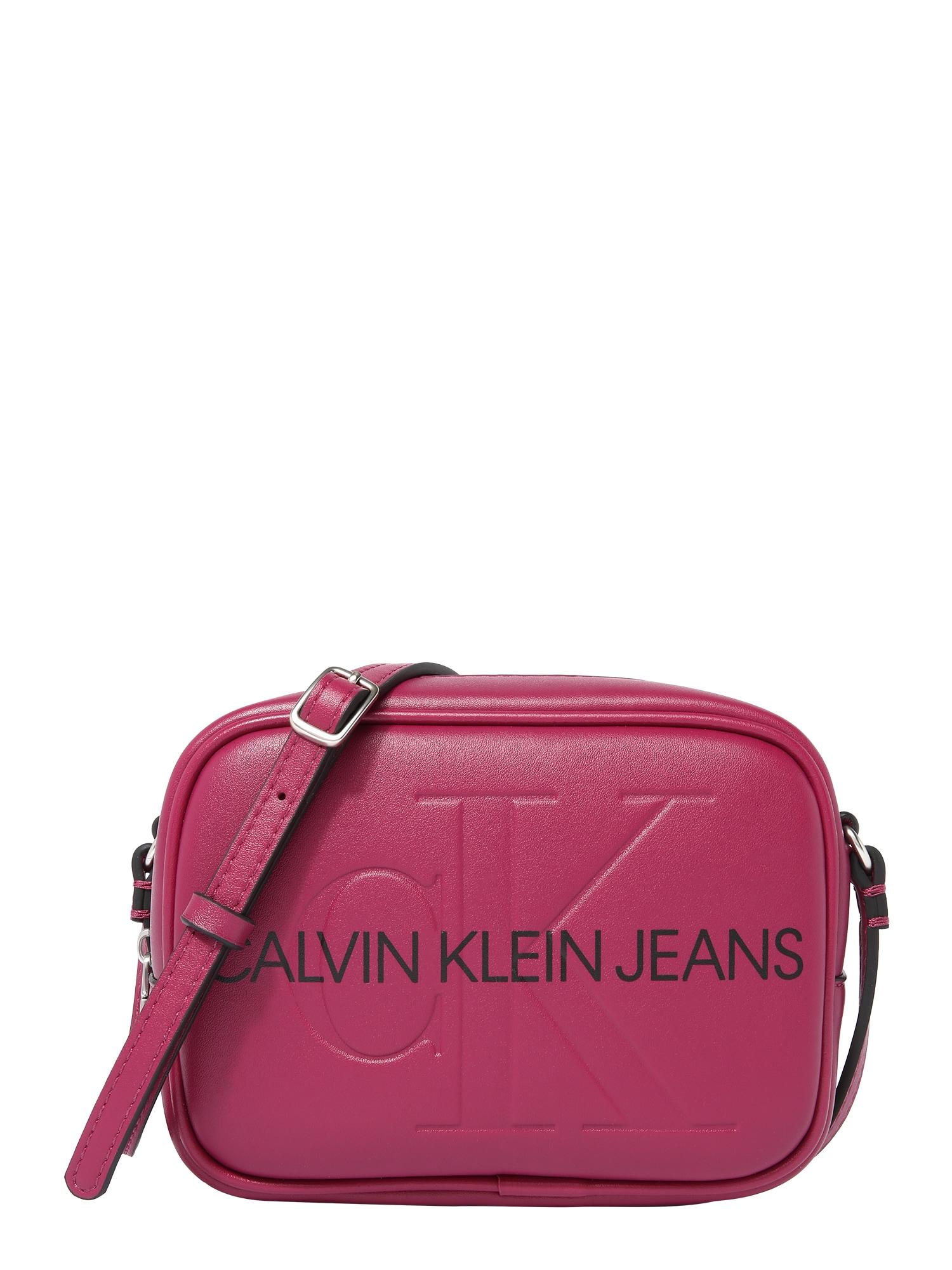 Calvin Klein Jeans Rankinė su ilgu dirželiu tamsiai raudona / juoda