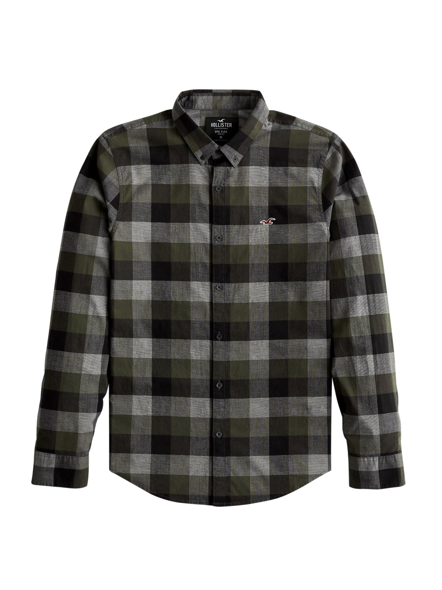 HOLLISTER Marškiniai alyvuogių spalva / pilka / antracito