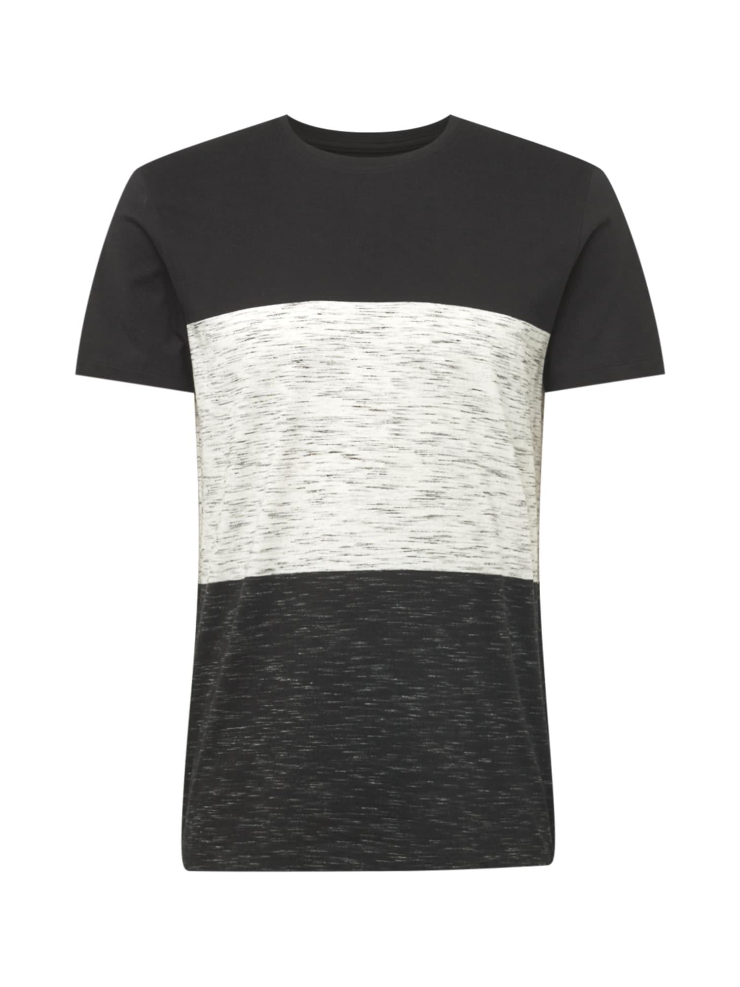 EDC BY ESPRIT Tričko  antracitová / černá / bílý melír