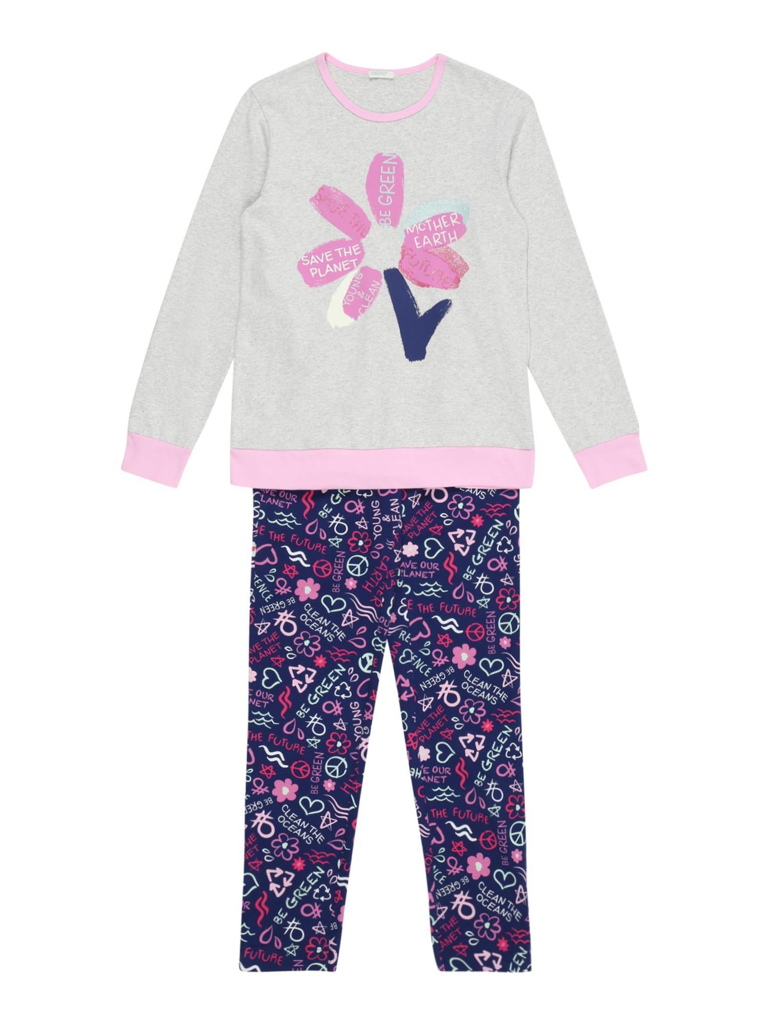 UNITED COLORS OF BENETTON Miego kostiumas indigo spalva / šviesiai pilka / rožinė