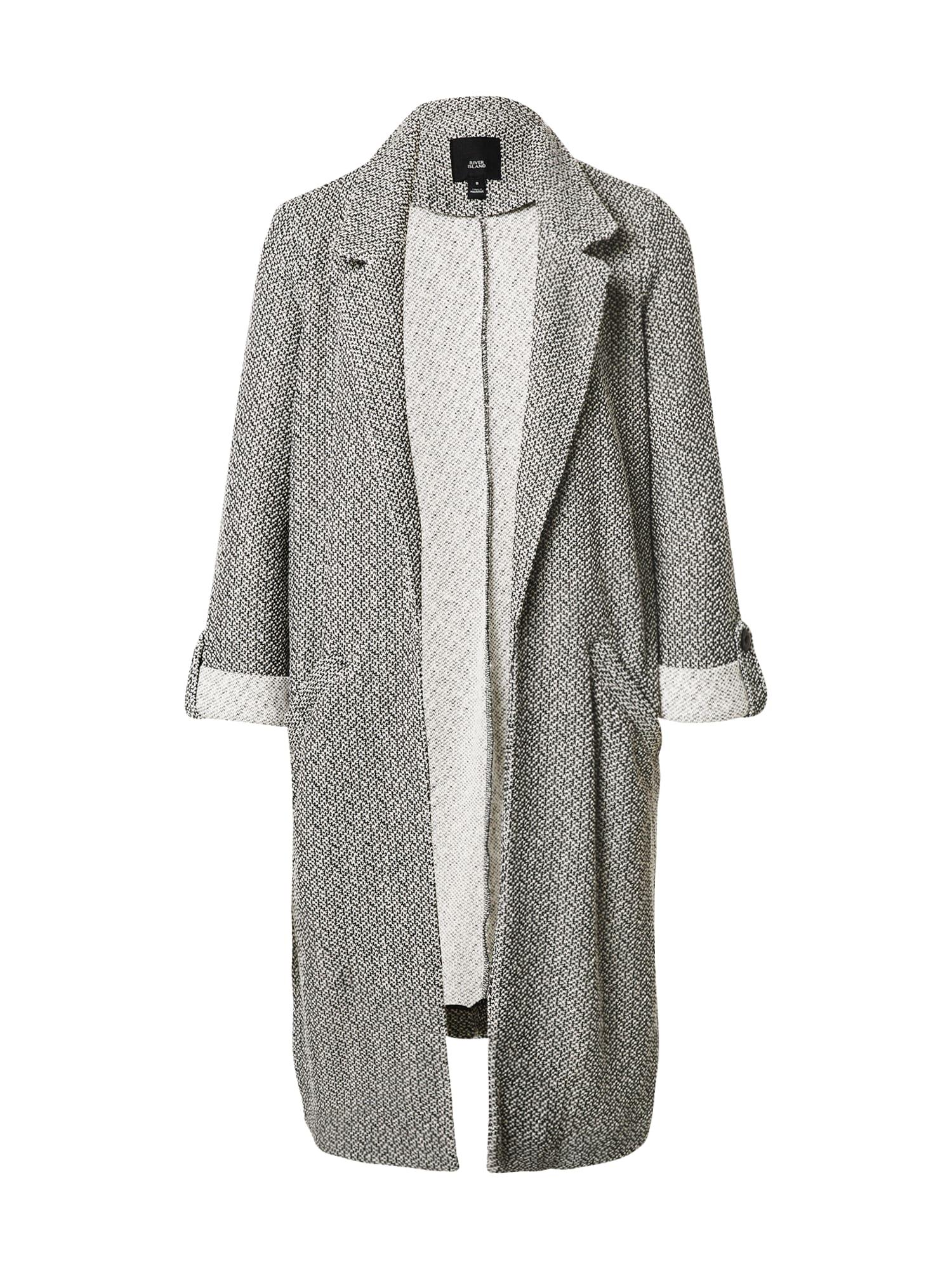 River Island Přechodný kabát  černá / bílá