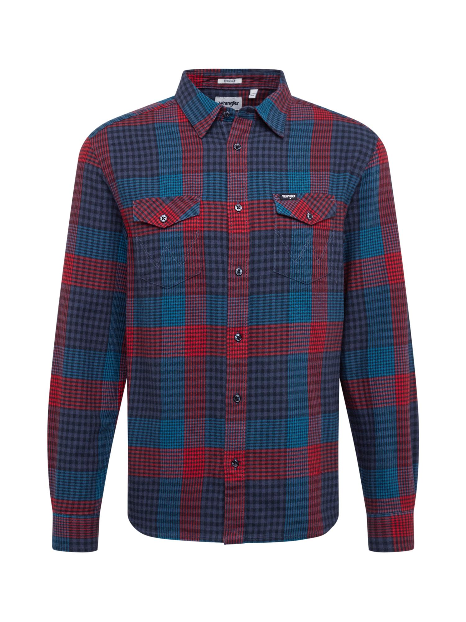 WRANGLER Marškiniai mėlyna / vyno raudona spalva