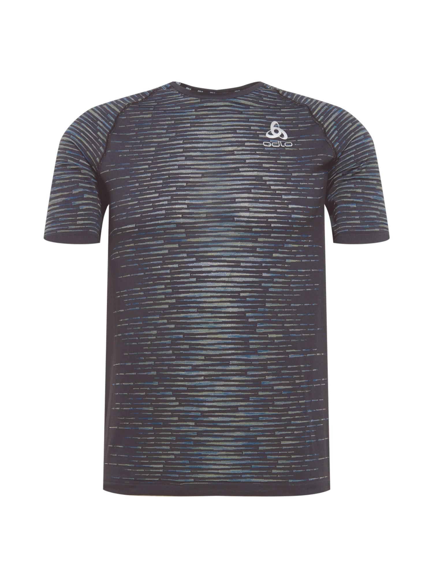 ODLO Sportiniai marškinėliai juoda / balta / dangaus žydra / rusvai žalia