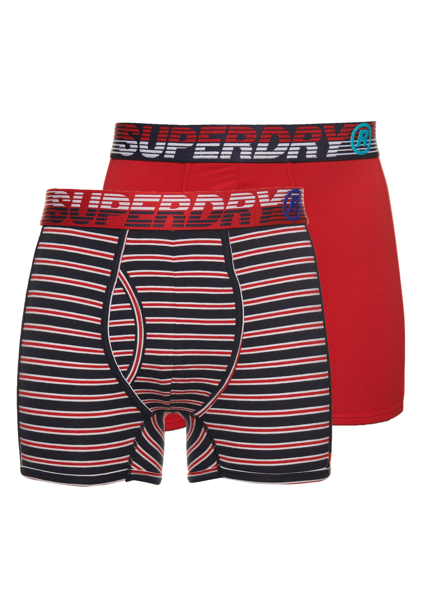 Superdry Boxer trumpikės raudona / juoda / balta / tamsiai mėlyna jūros spalva