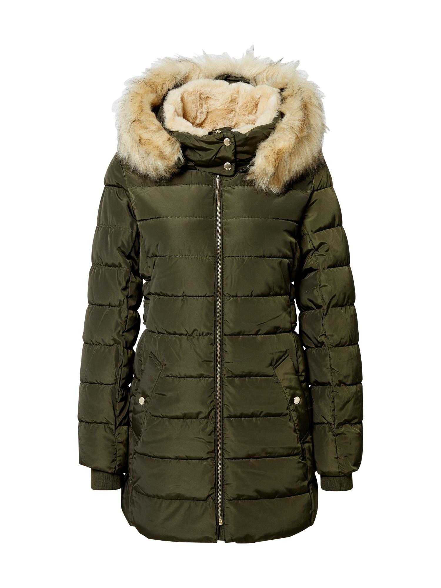 ONLY Zimní kabát  zelená / béžová