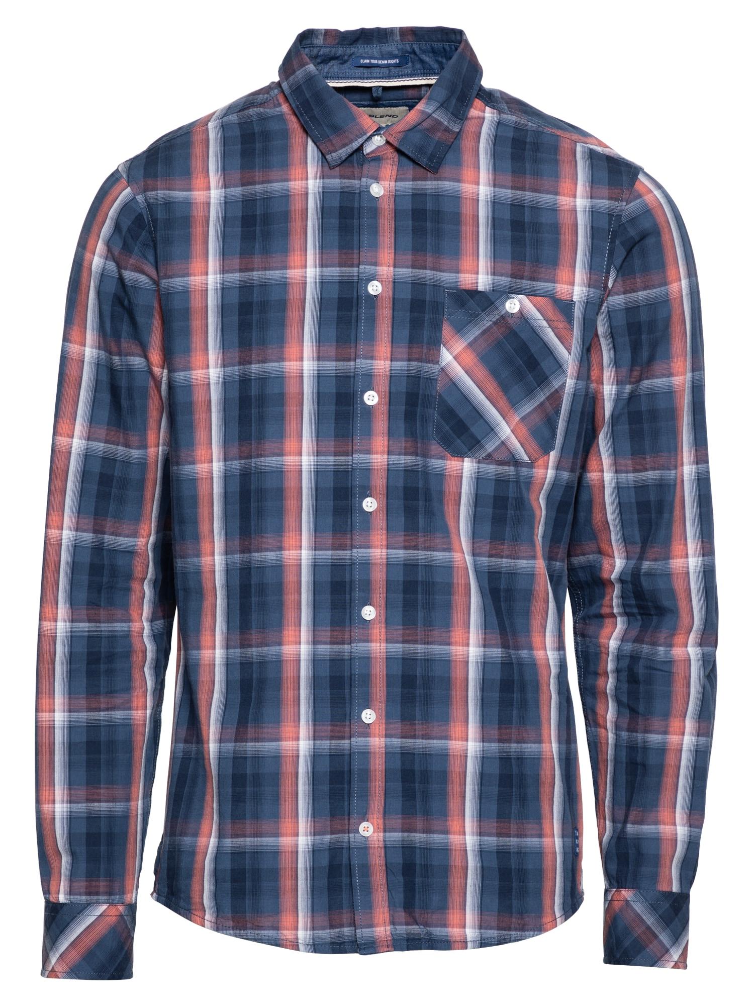 BLEND Marškiniai melsvai pilka / tamsiai mėlyna / balta / lašišų spalva