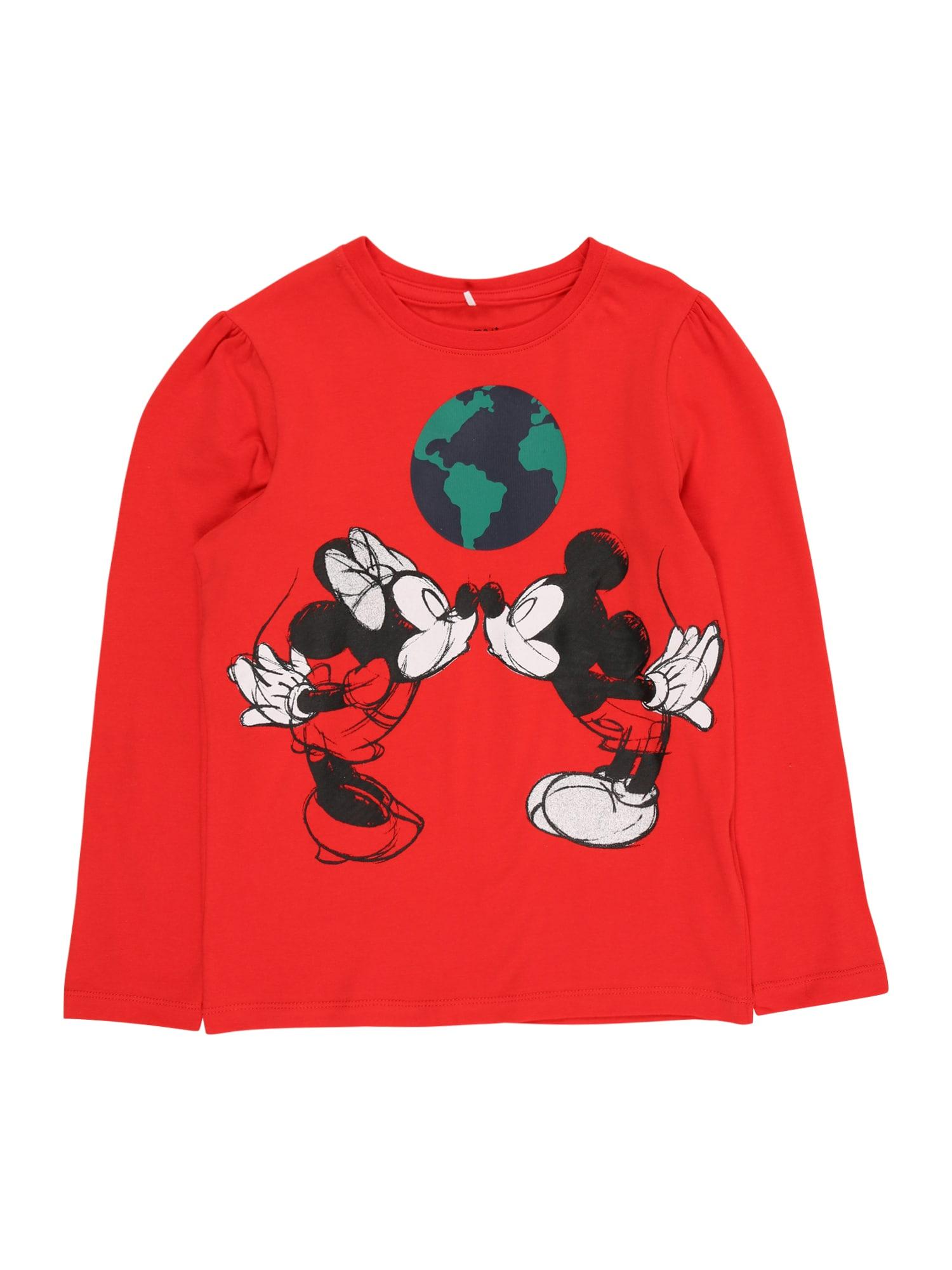 NAME IT Marškinėliai 'MINNIE LENA' raudona / juoda / nakties mėlyna / žalia