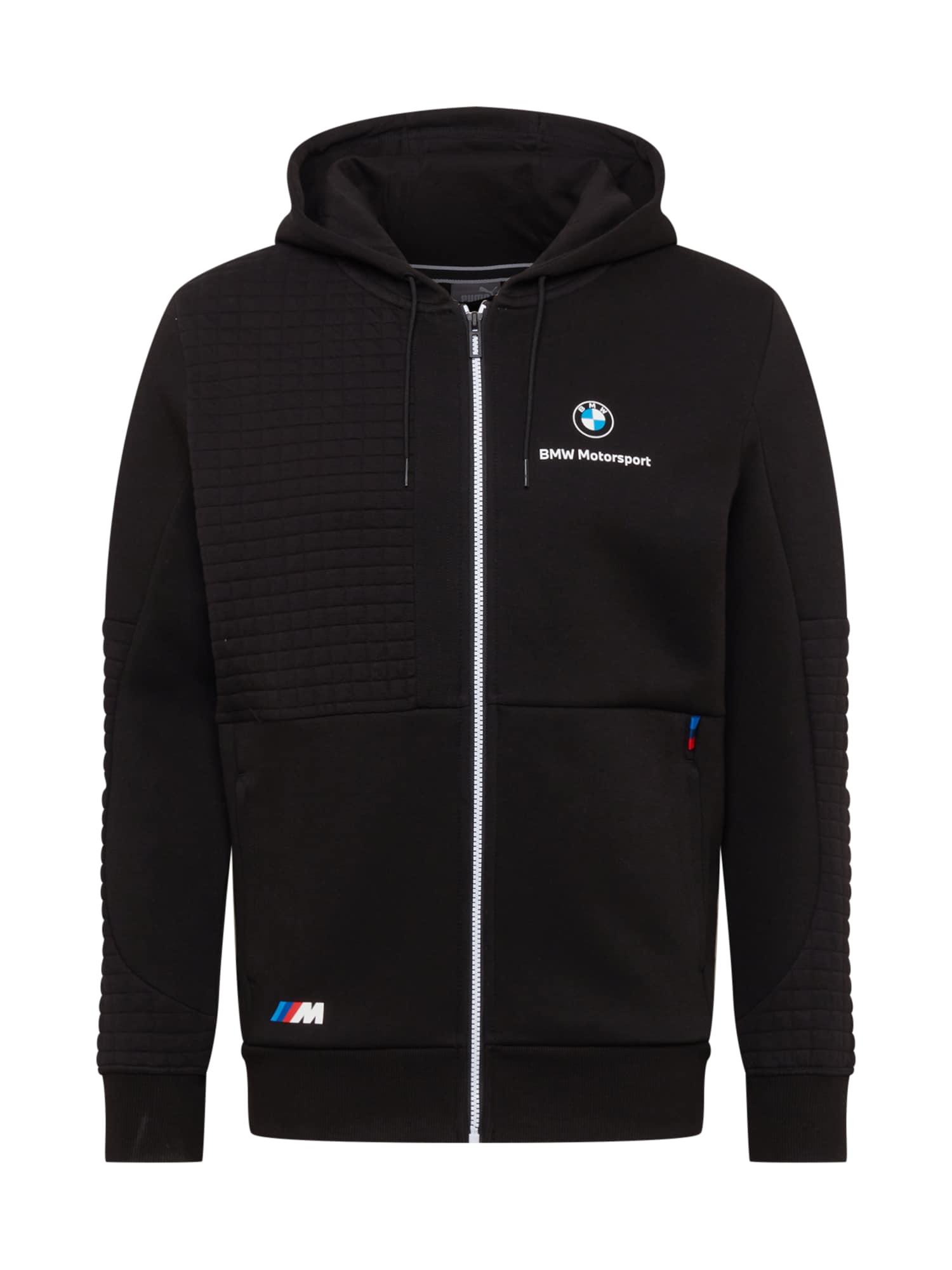 PUMA Športová mikina so zipsom 'BMW'  čierna / modrá / červená / biela