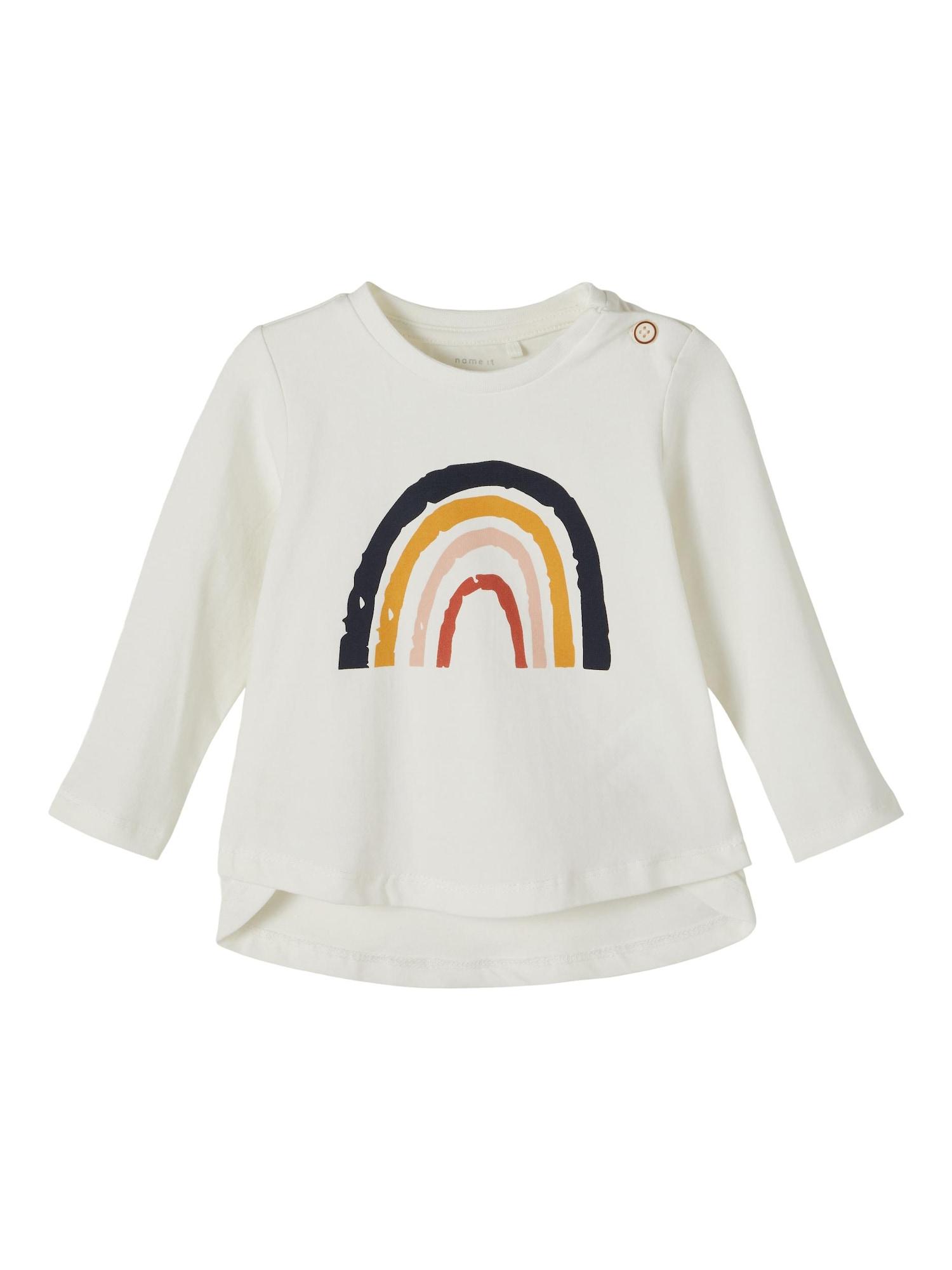 NAME IT Marškinėliai 'Daisi' balkšva / tamsiai mėlyna / aukso geltonumo spalva / rožių spalva / pastelinė raudona