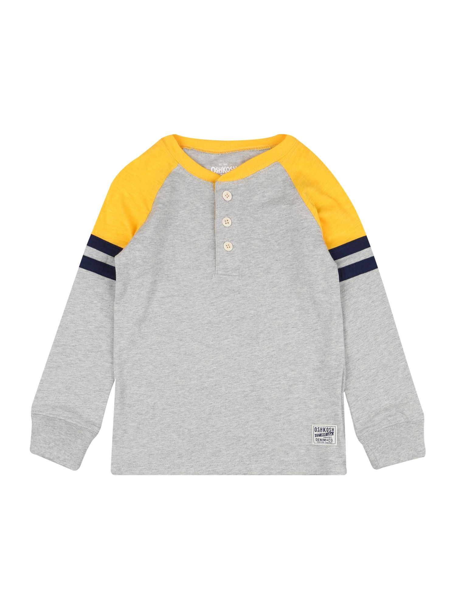 OshKosh Marškinėliai margai pilka / geltona / tamsiai mėlyna