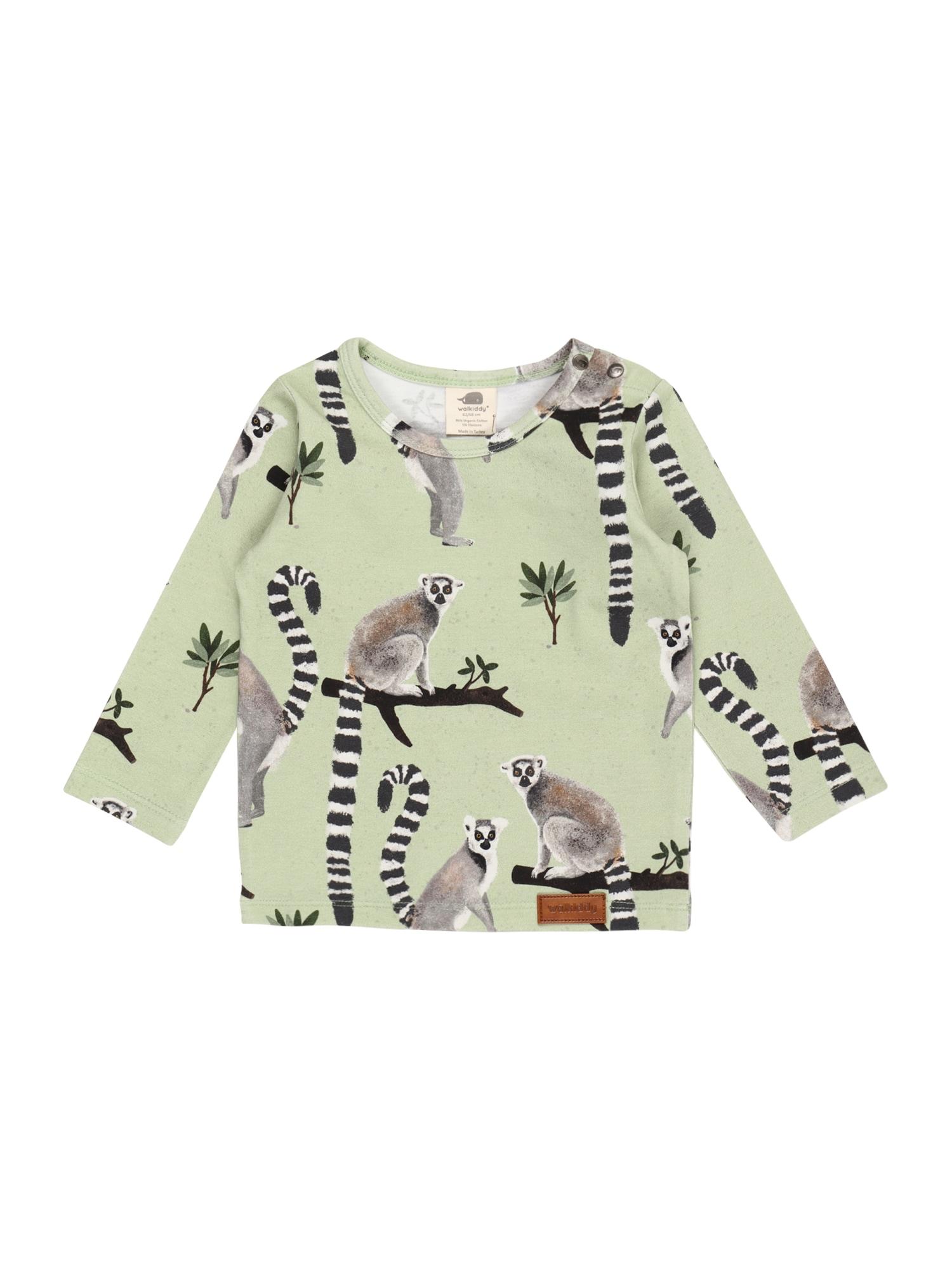 Walkiddy Marškinėliai pastelinė žalia / juoda / balta / margai pilka / mišrios spalvos