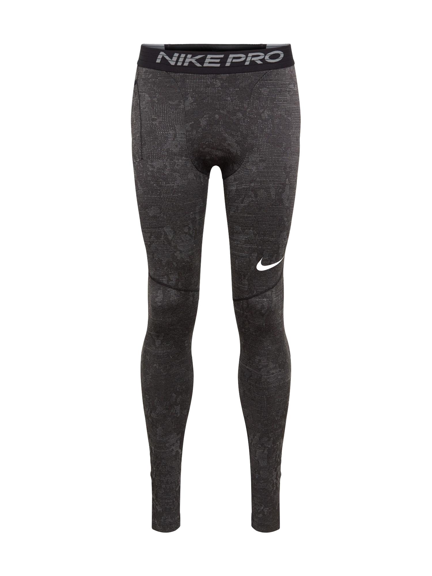 NIKE Sportovní kalhoty  tmavě šedá / bílá