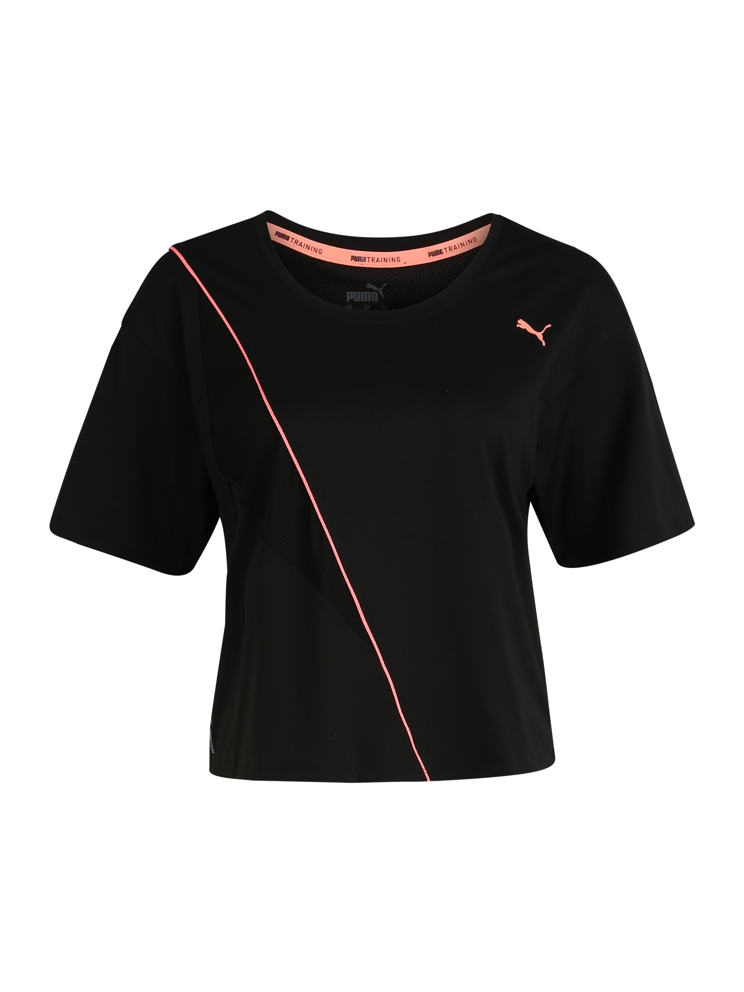 PUMA Sportiniai marškinėliai juoda / oranžinė