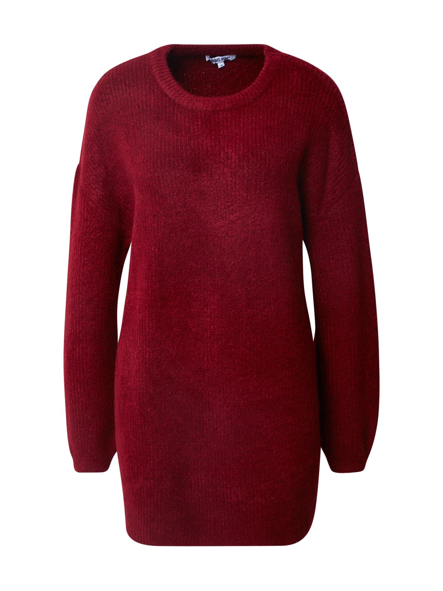 ABOUT YOU Laisvas megztinis 'Mina' raudona / vyšninė spalva
