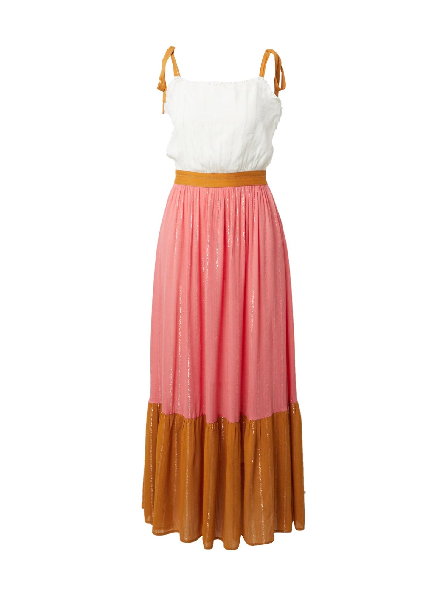 FRNCH PARIS Vasarinė suknelė rusvai oranžinė / rožių spalva / balta