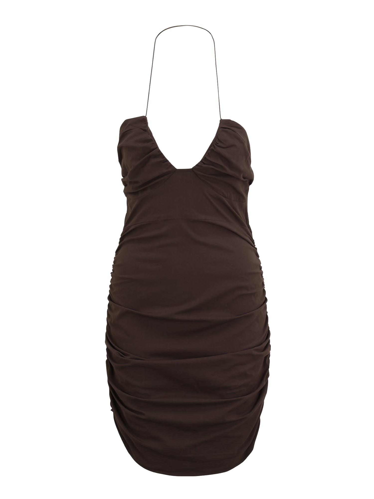 Missguided Petite Kokteilinė suknelė tamsiai ruda