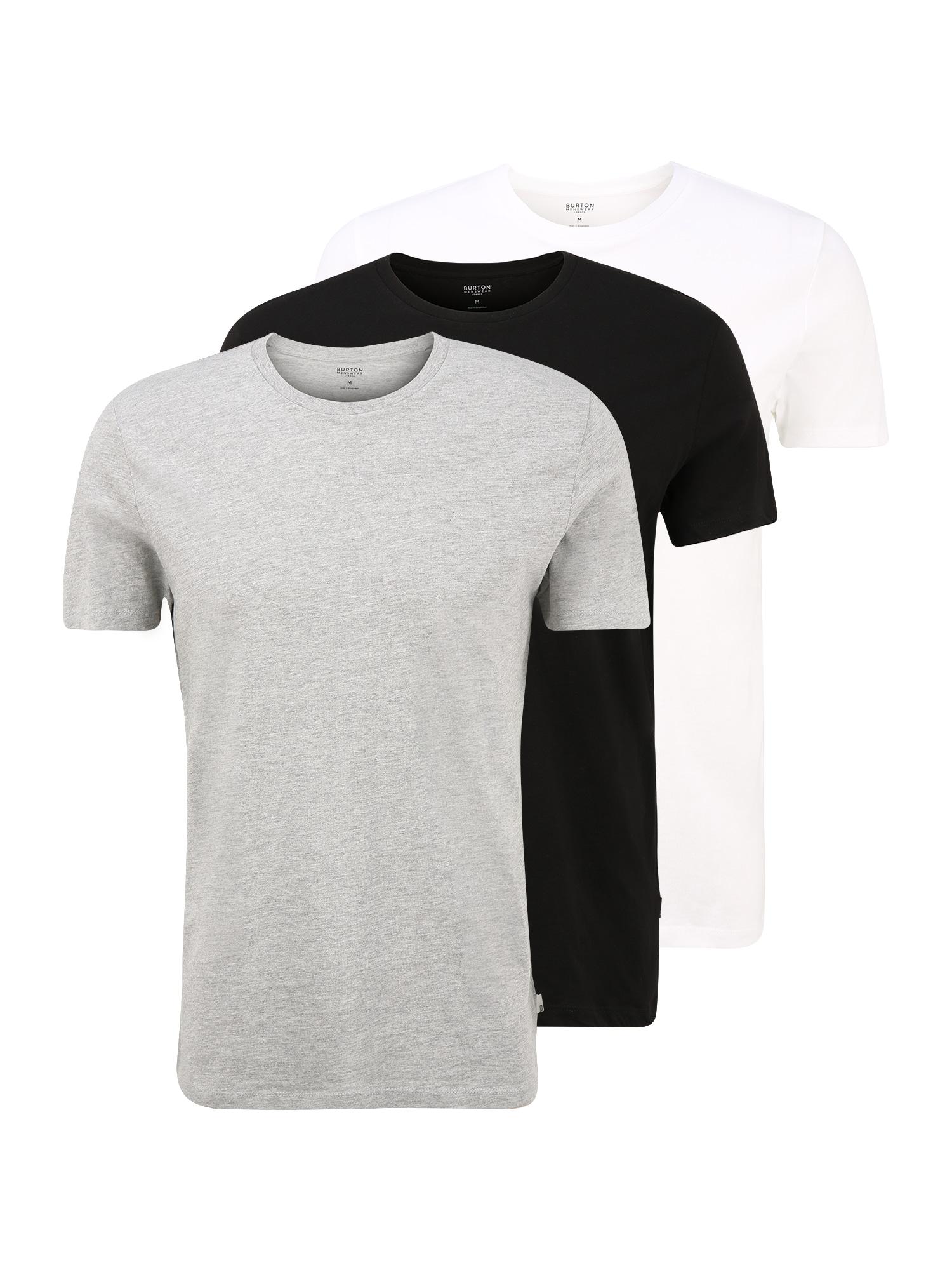 BURTON MENSWEAR LONDON Apatiniai marškinėliai juoda / margai pilka / balta