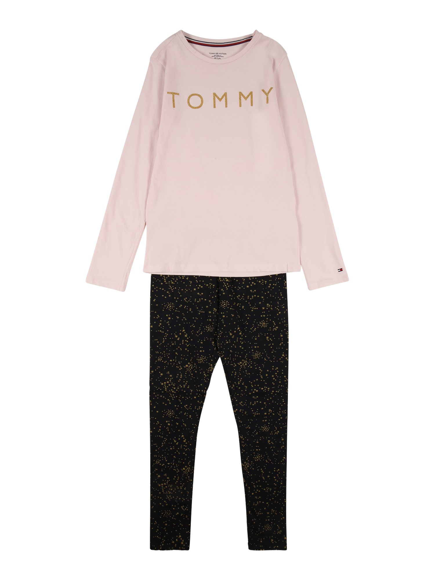 TOMMY HILFIGER Miego kostiumas šviesiai rožinė / juoda / auksas