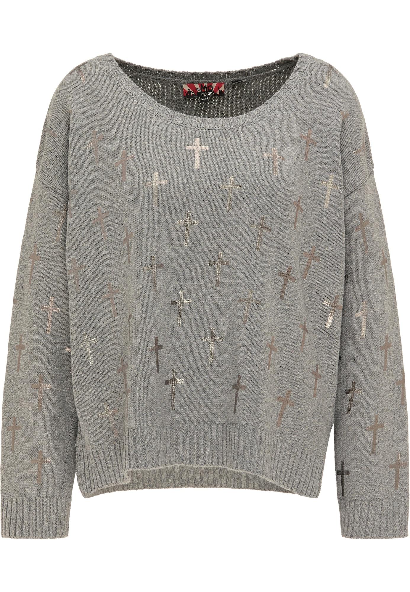 myMo ROCKS Laisvas megztinis pilka / sidabrinė